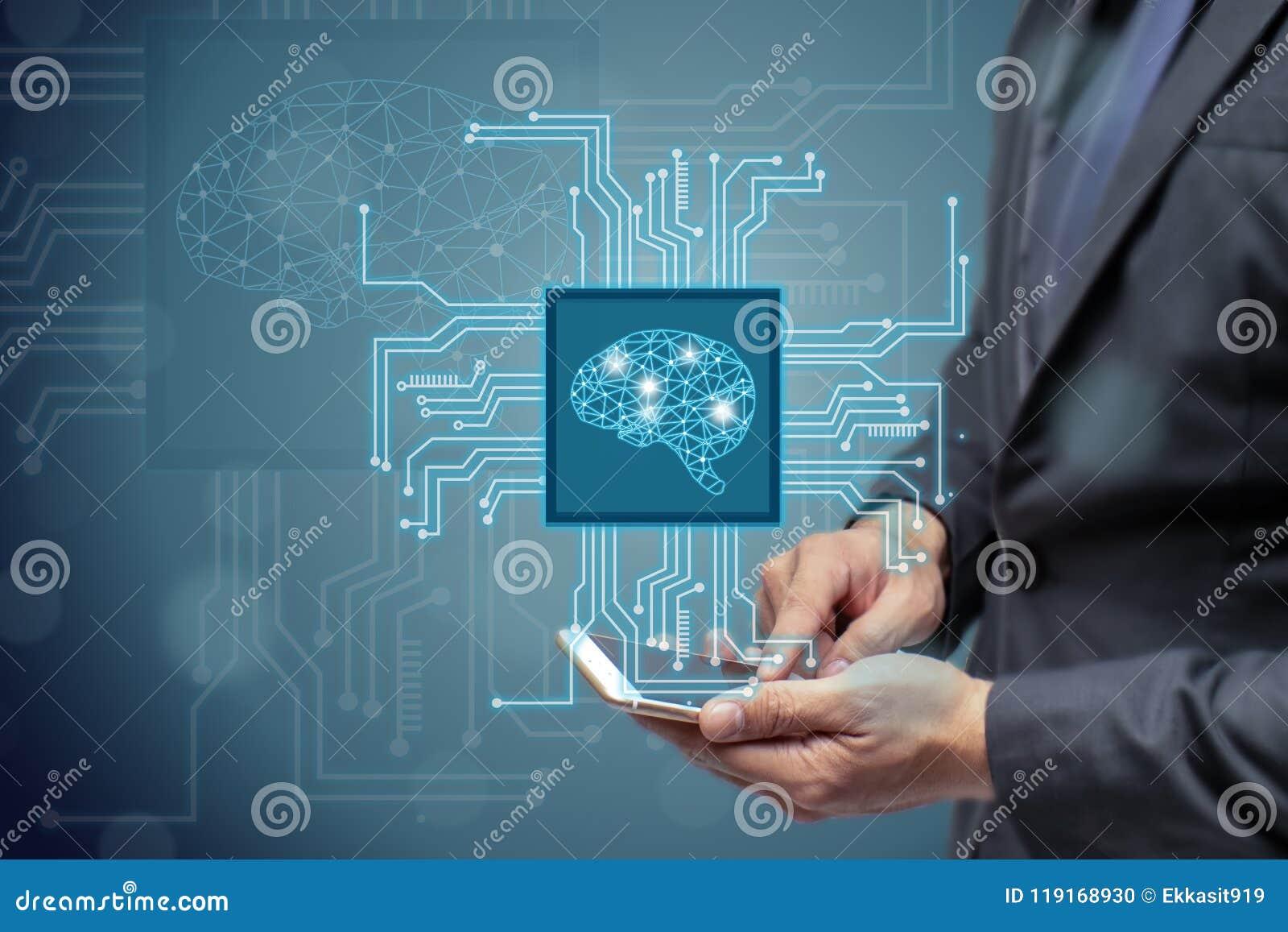 Utilisation AI d homme ou d ingénieur d affaires ou concept intelligent artificiel, nuage calculant, exploitation de données, app