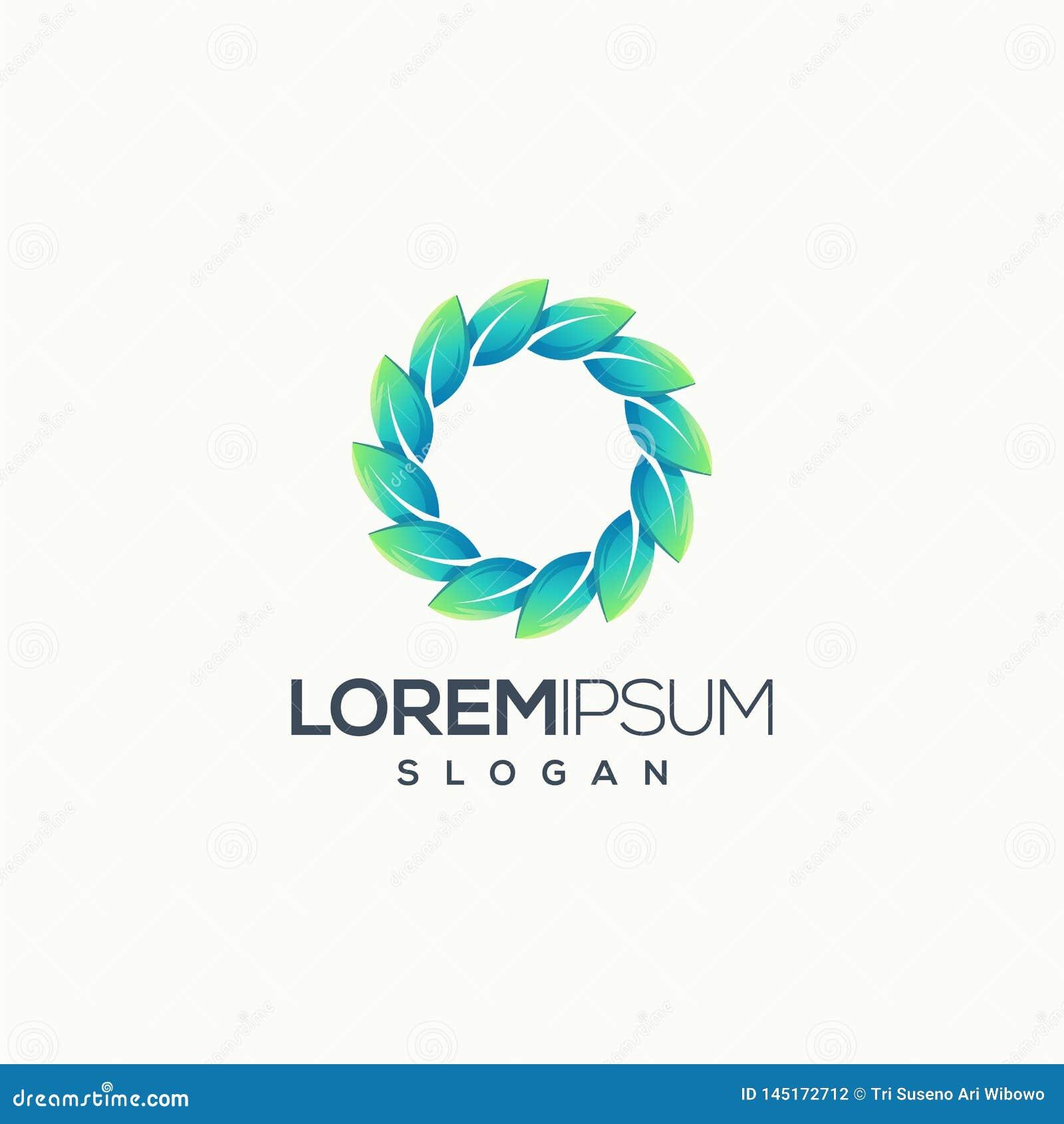 Utilisation supérieure prête d illustration de vecteur de conception de logo de feuille de cercle