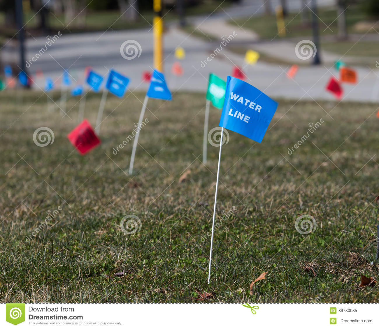 Utility Flags Marker stock image  Image of excavation - 89730035