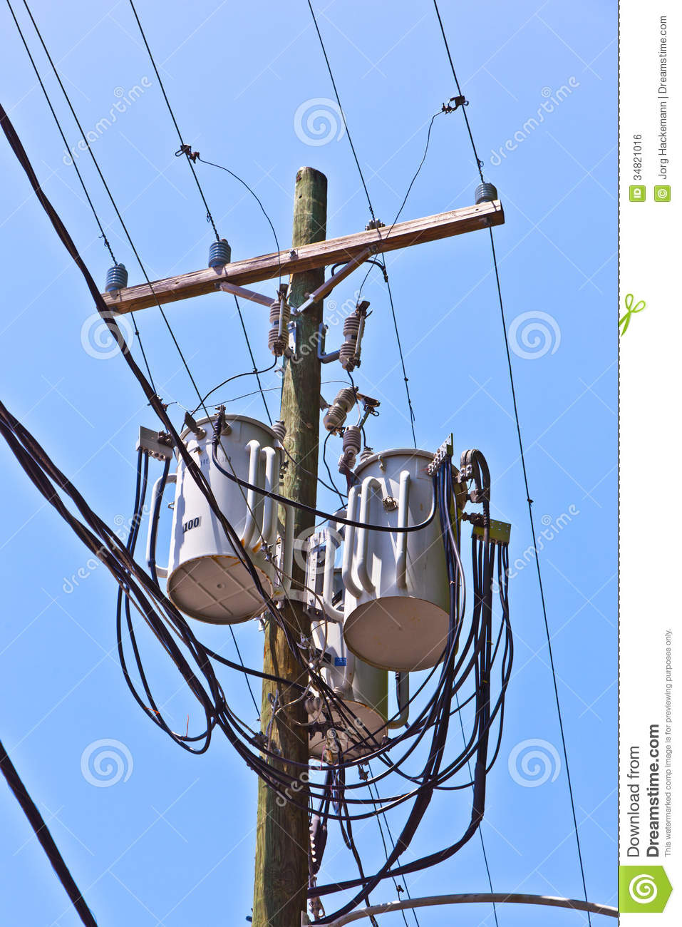 Utility Pole Under Clear Blue Sky Royalty Free Stock Image ...