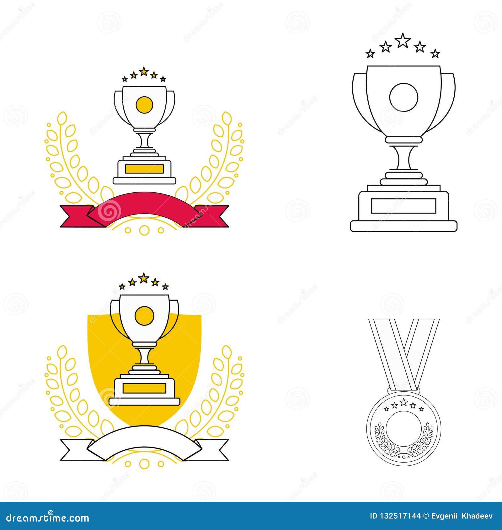 Utmärkelselinje symbolsuppsättning Moderna översiktsbeståndsdelar, begrepp för grafisk design, enkel symbolsamling Vektorlinje sy