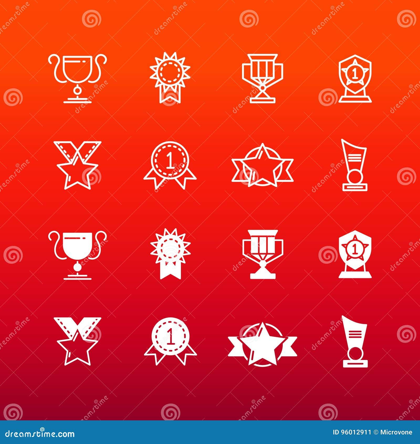 Utmärkelser, trofén och priser fodrar och skisserar symboler