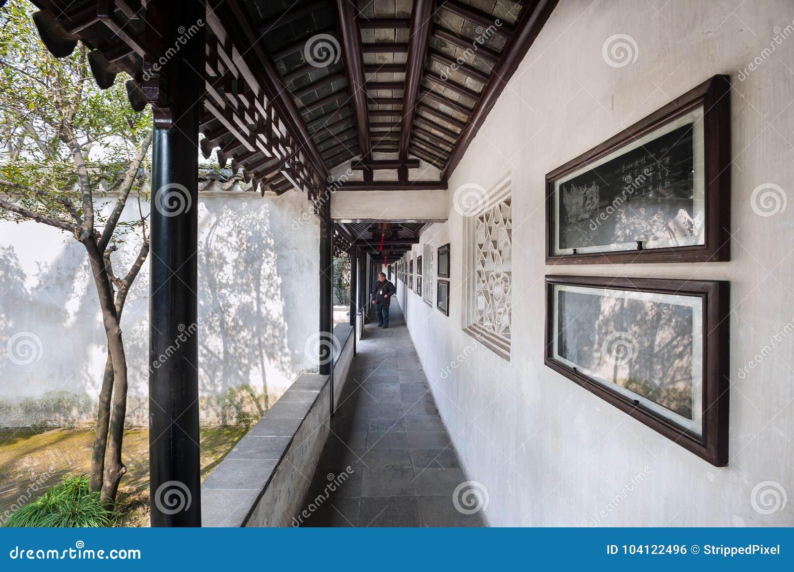 Utomhus- kloster på Lion Grove Garden, Suzhou