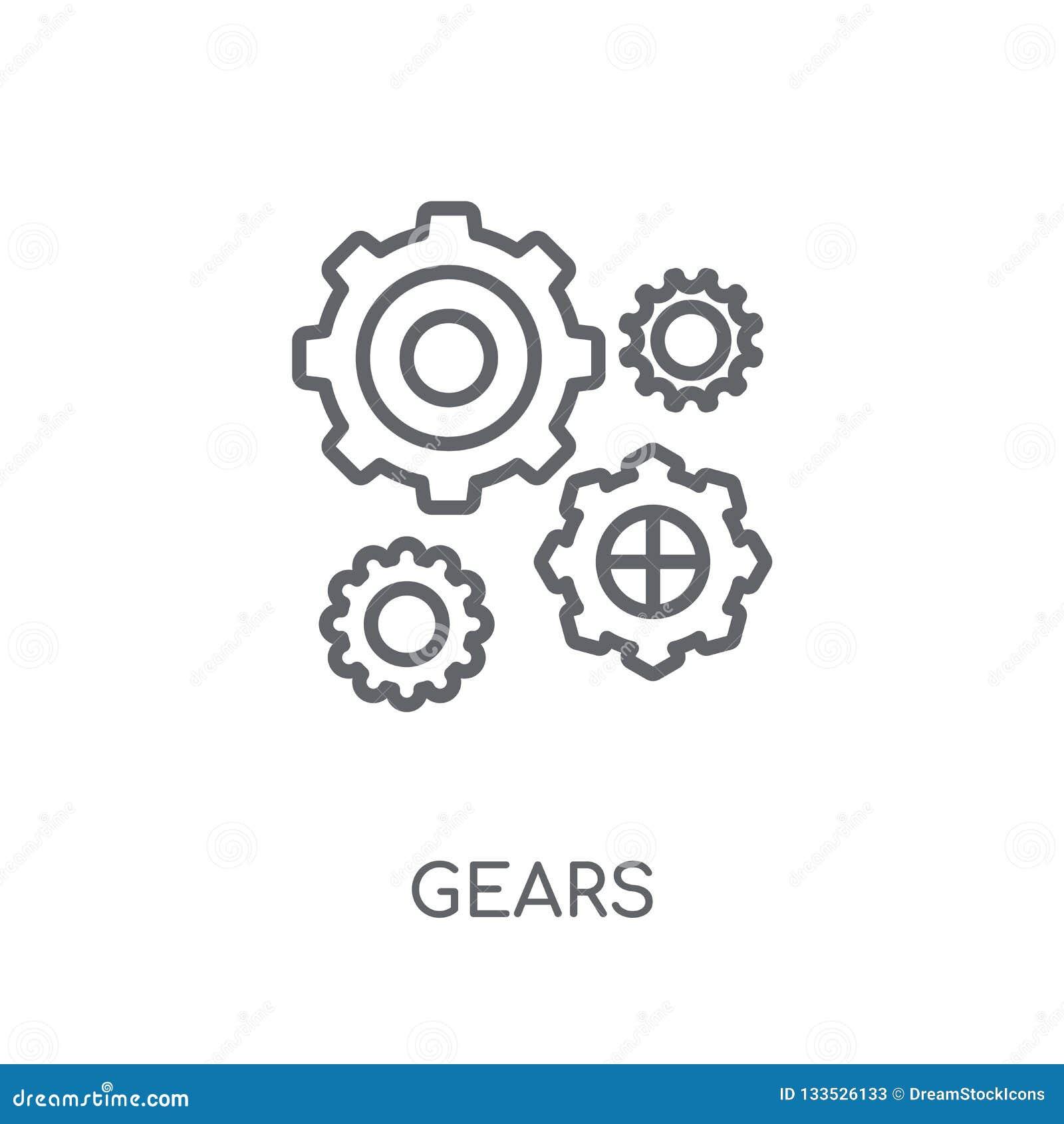 Utrustar den linjära symbolen Den moderna översikten utrustar logobegrepp på vita lodisar