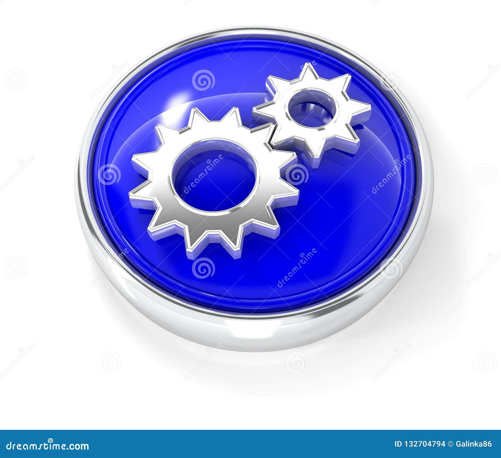 Utrustar symbolen på den glansiga blåa runda knappen