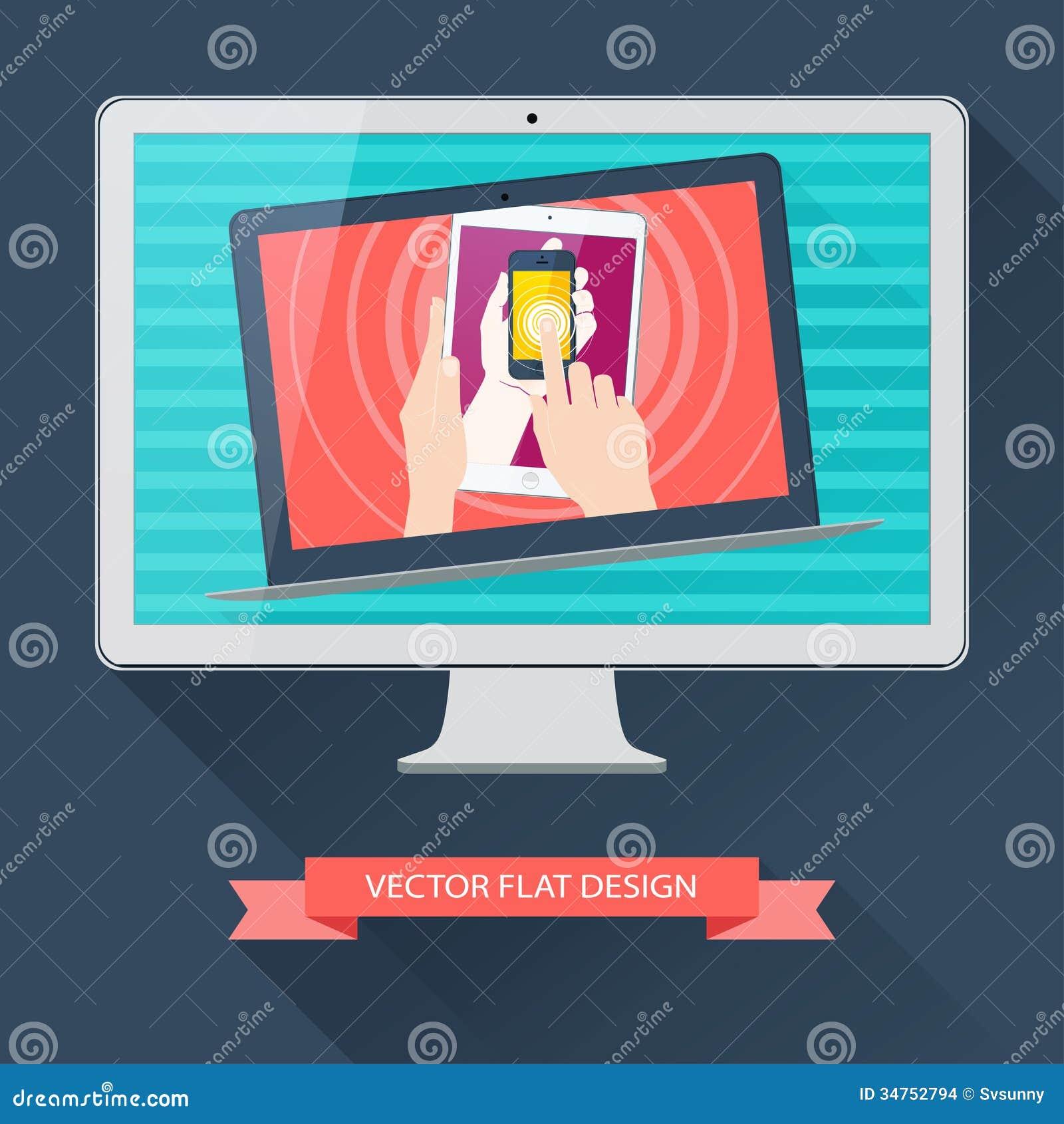 Utrustning för internetanvändare: dator minnestavla, telefon, bärbar dator. Vecto