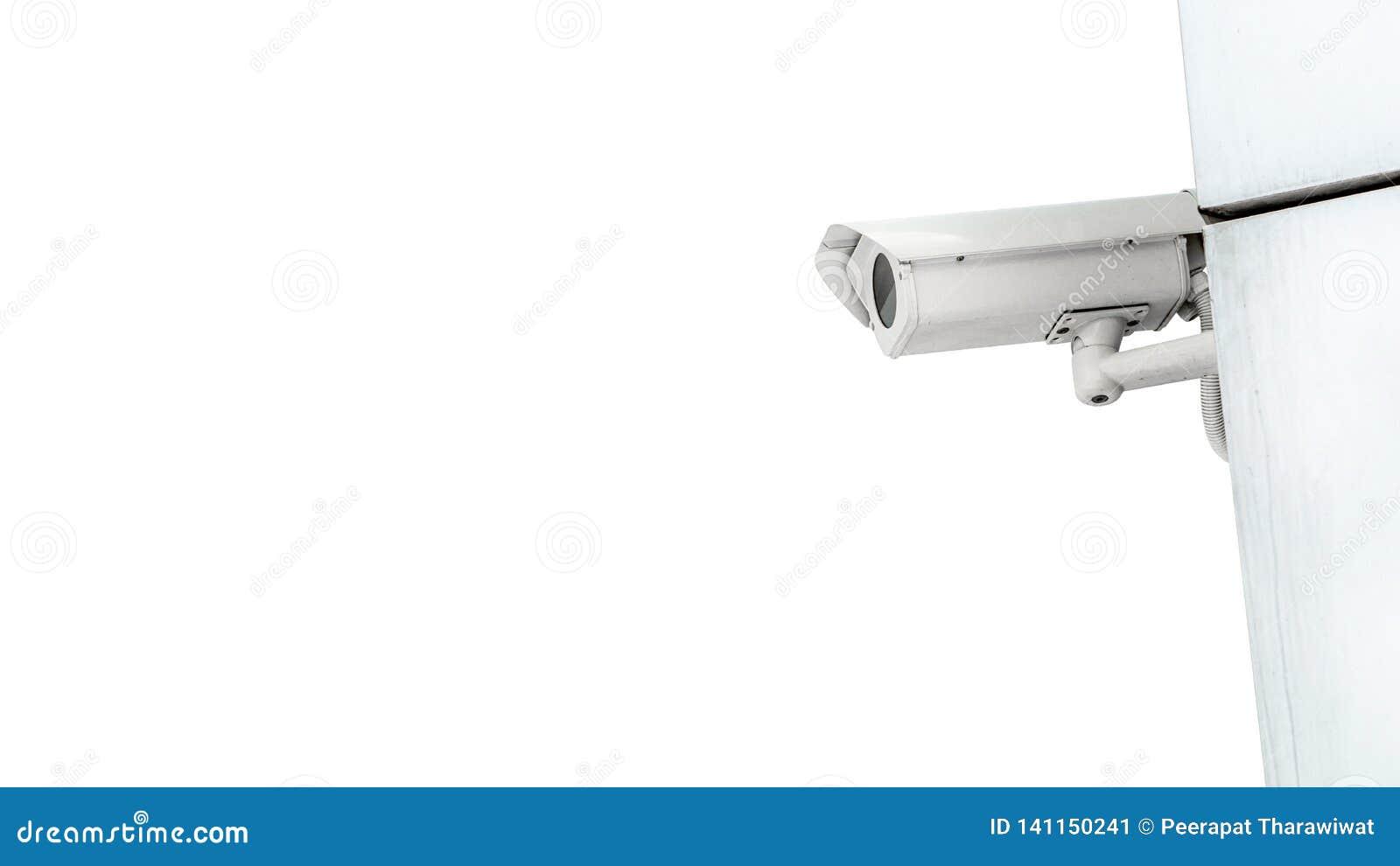 Utrustning för video för kamera för CCTV-bevakningsäkerhet på väggen av tornet eller hemmet som isoleras på vitt bakgrunds- och k