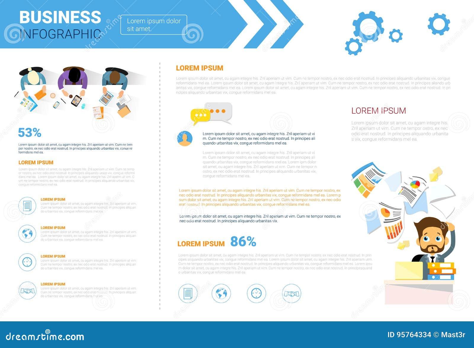 Utrymme för kopia för affärsInfographics uppsättning för begrepp för analys för rapport för presentationsdatamarknad