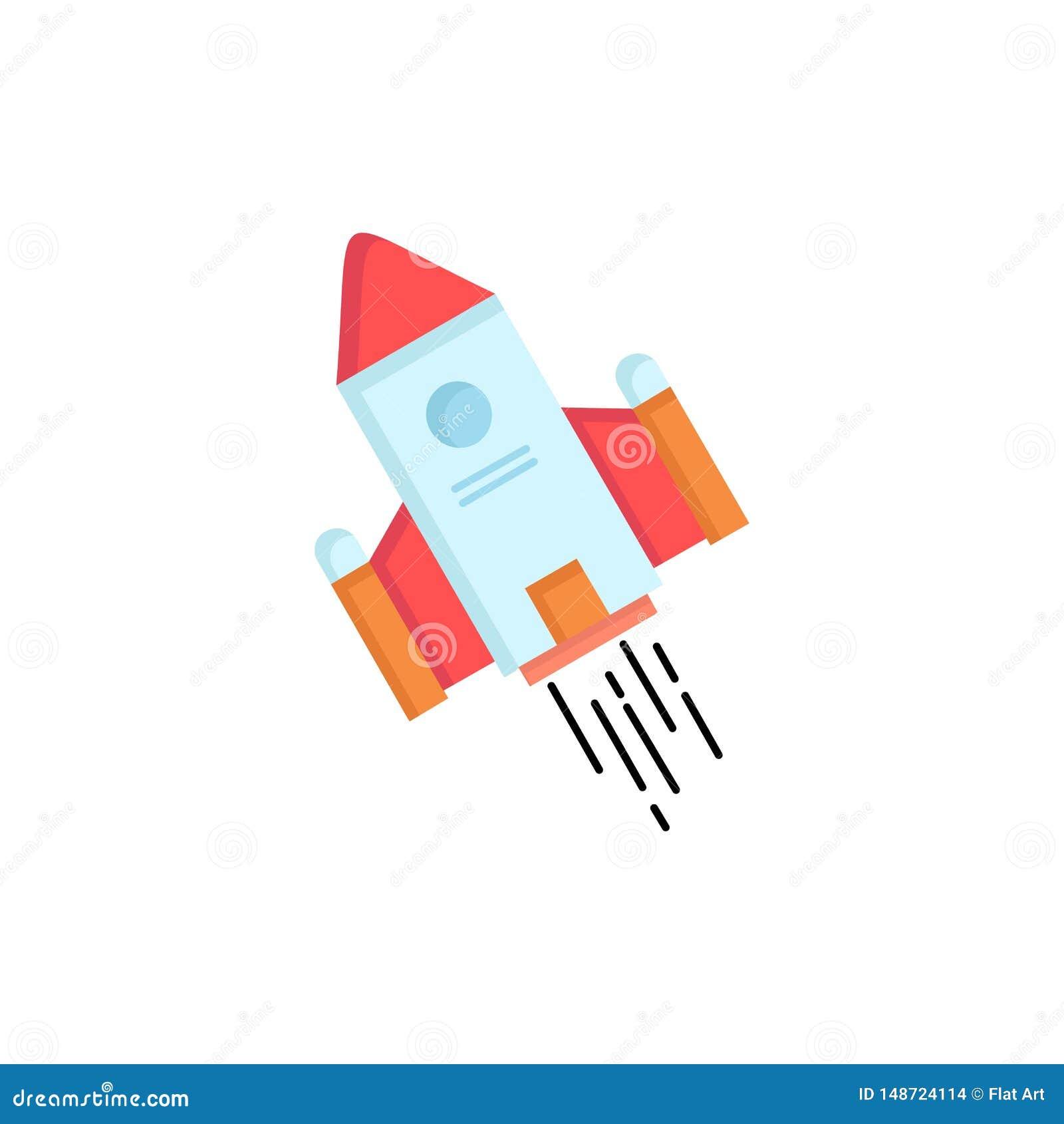 Utrymmehantverk, anslutning, utrymme, raket, för färgsymbol för lansering plan vektor
