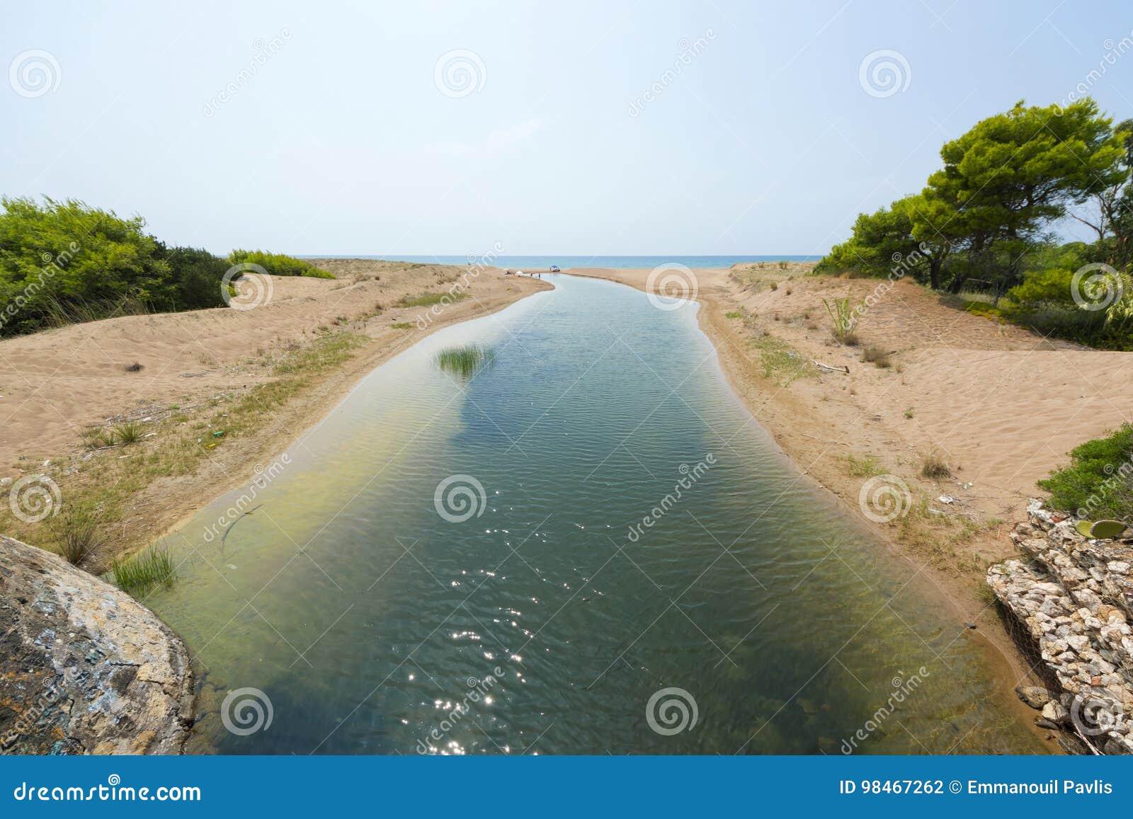 Utskjutning av Kaiafas sjön in i havet, Grekland