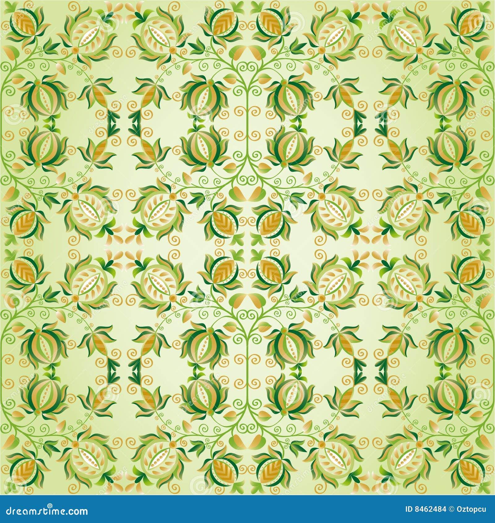 Utsmyckad green för designblommaguld