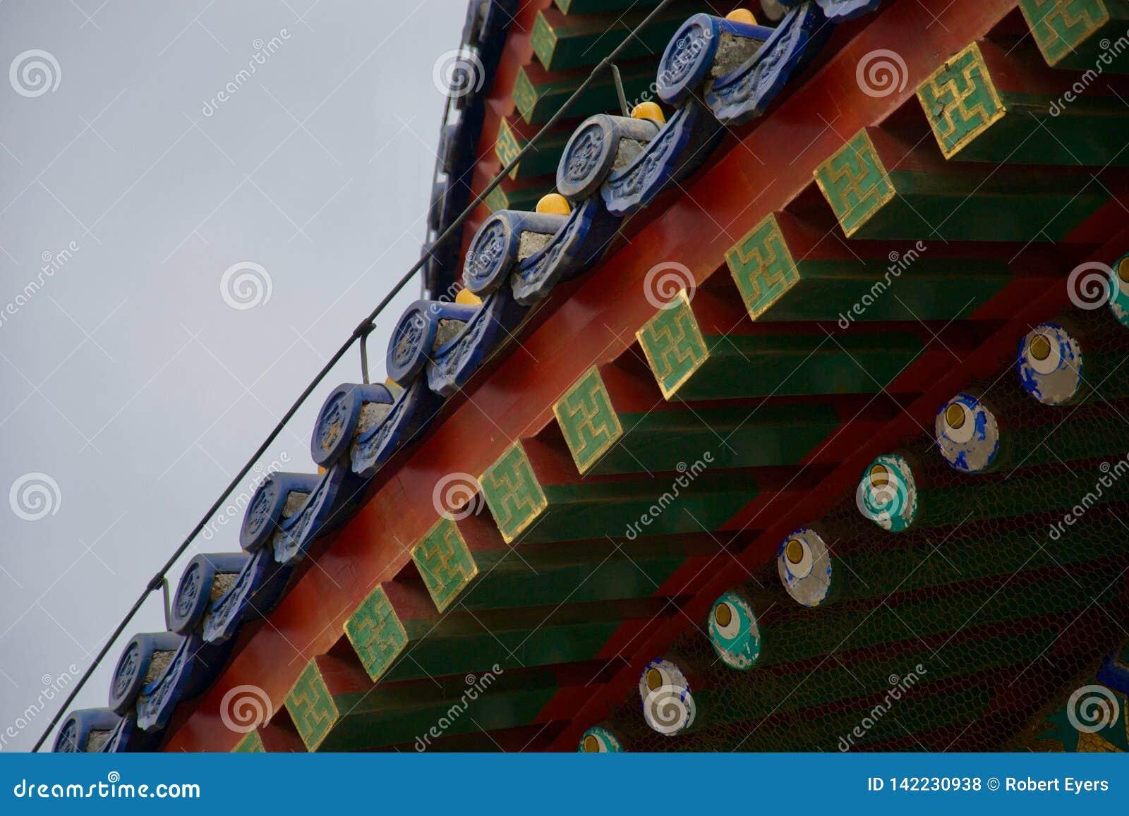 Utsmyckat tak av kinesiska röda, blåa och gröna taksparrar för tempel - med ögon
