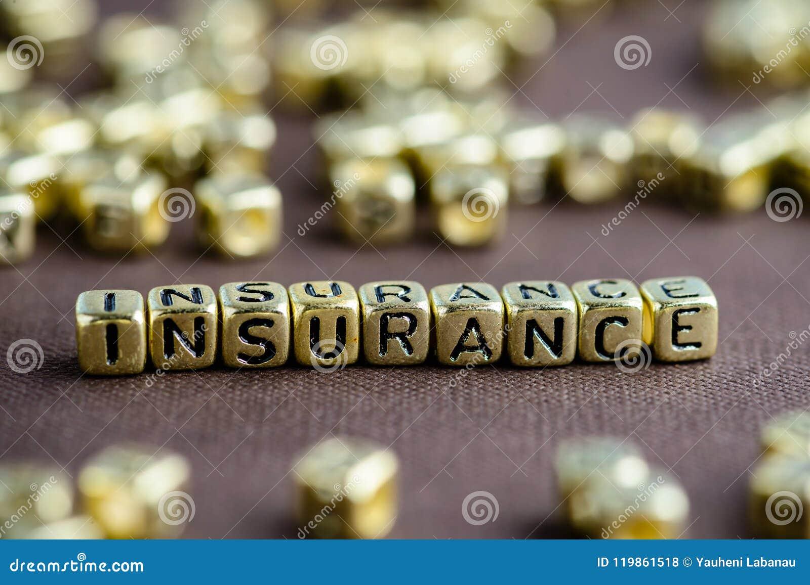 Uttrycka FÖRSÄKRING som göras från små guld- bokstäver på den bruna backgen