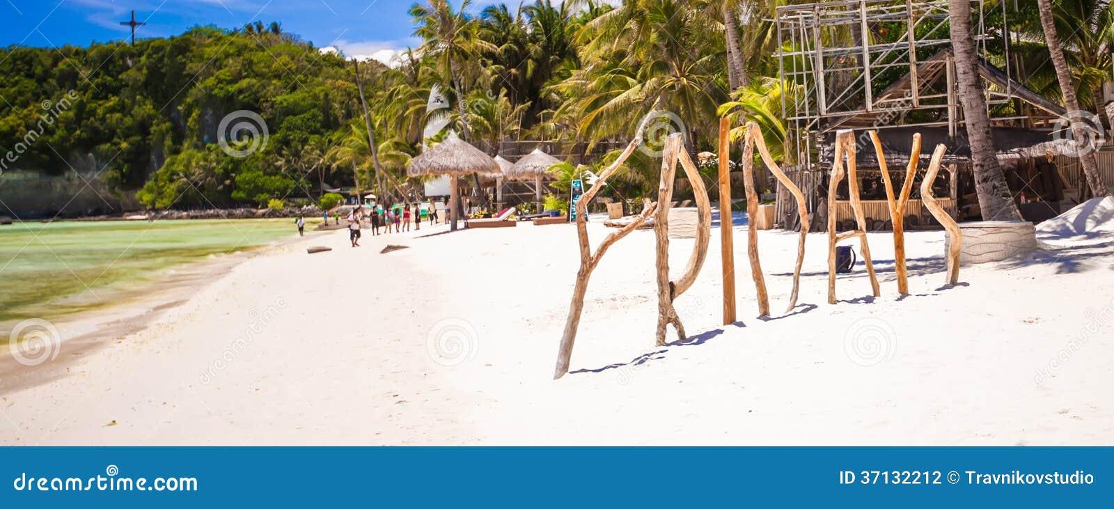 Uttrycka fredag som göras av trä på den Boracay ön