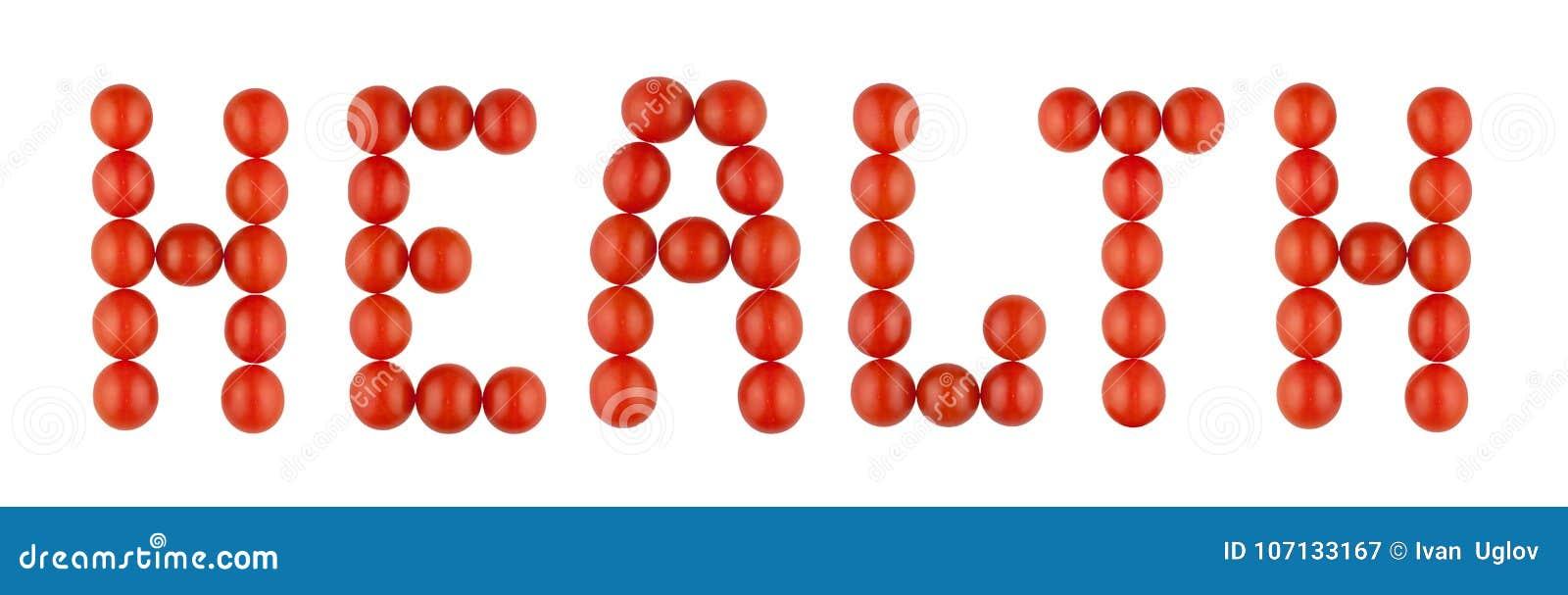 Uttrycka HÄLSA som göras från röda tomater på den vita bakgrunden