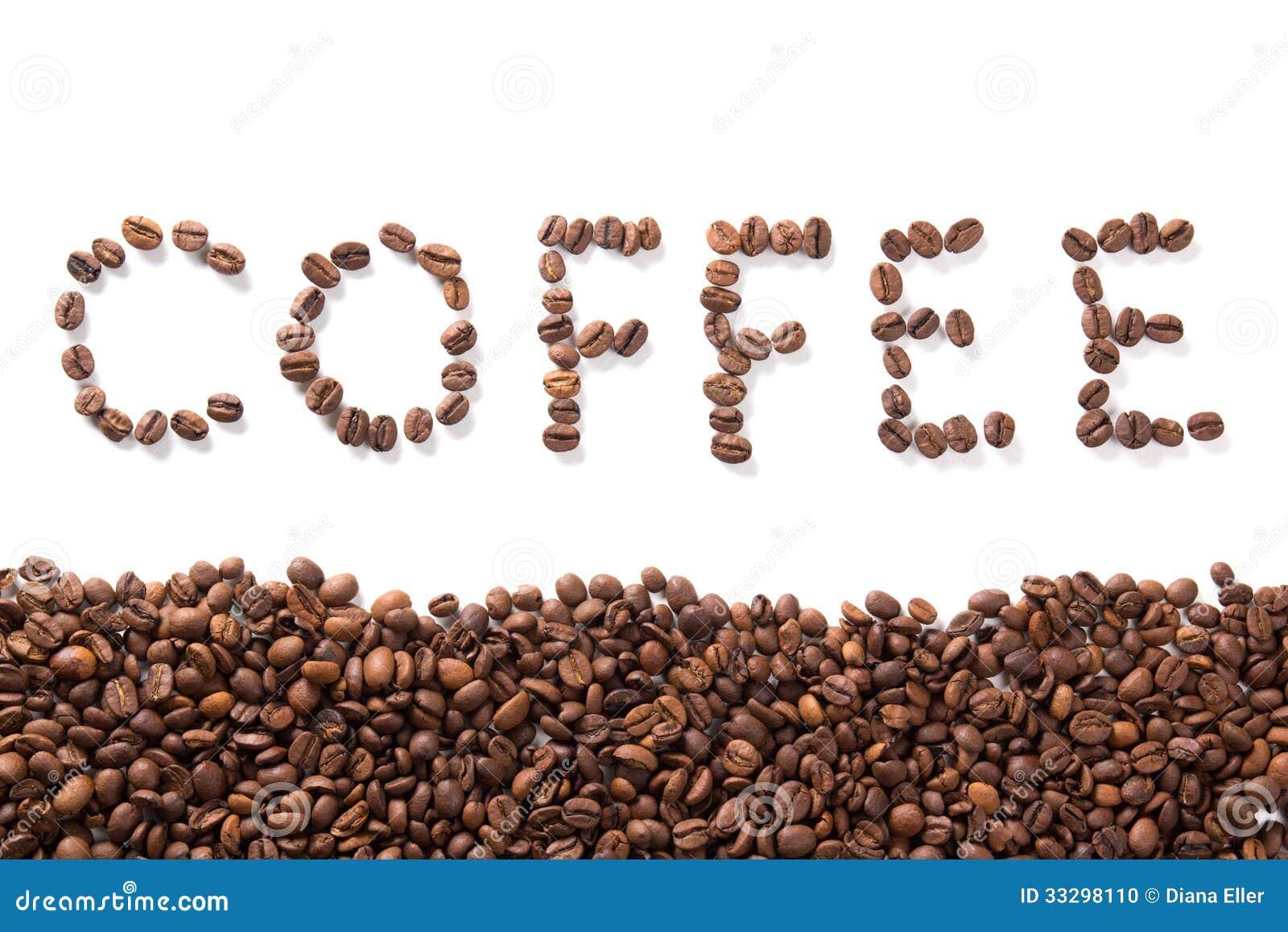Uttrycka kaffe, grillade bönor över vit bakgrund