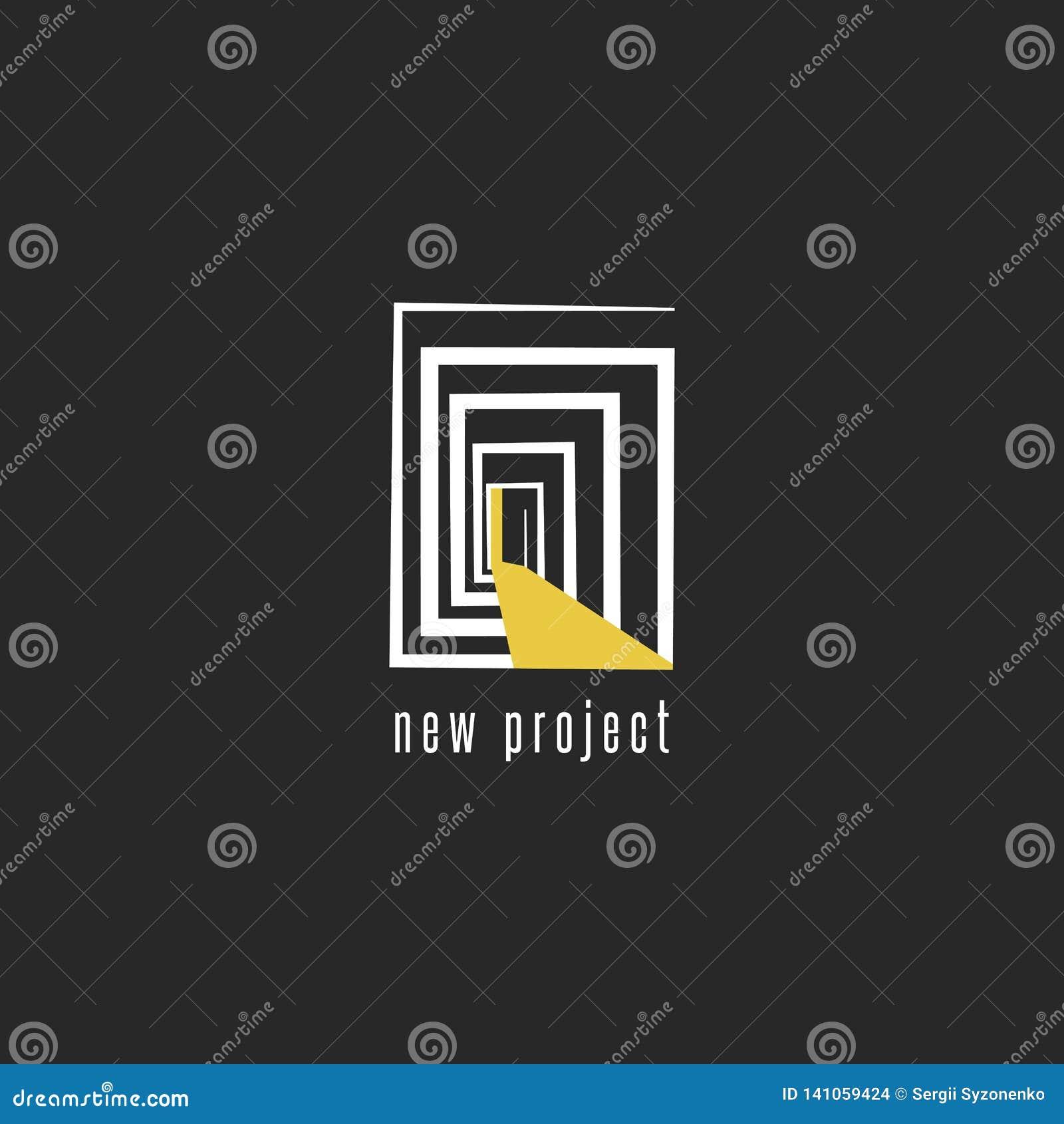 Utveckling av en ny projektlogodesign, abstrakt rum med en dörremblemmall för bärare för affärskort, idérik idé av