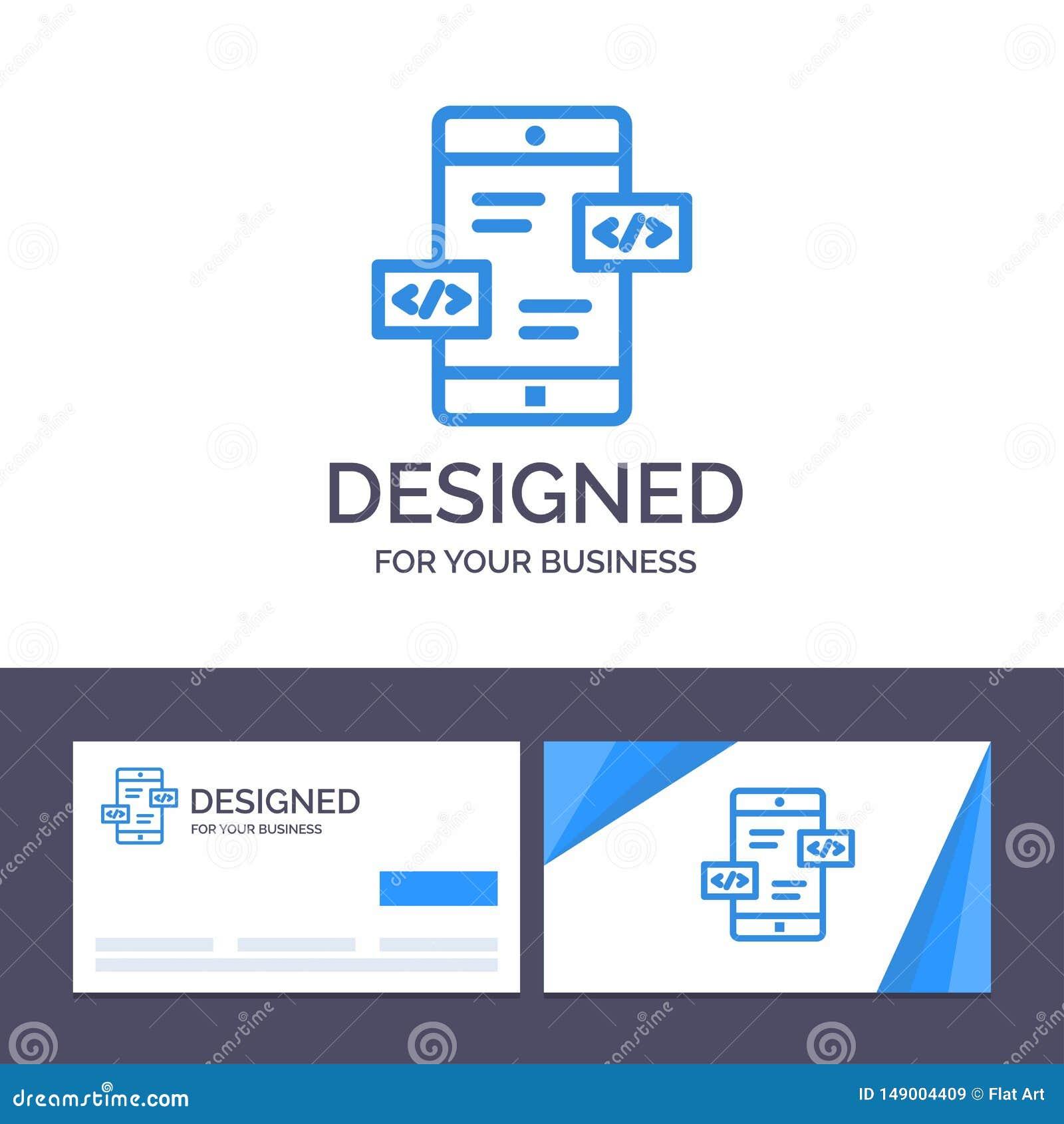 Utveckling för App för idérik mall för affärskort och logo, pilar, Div, mobil vektorillustration
