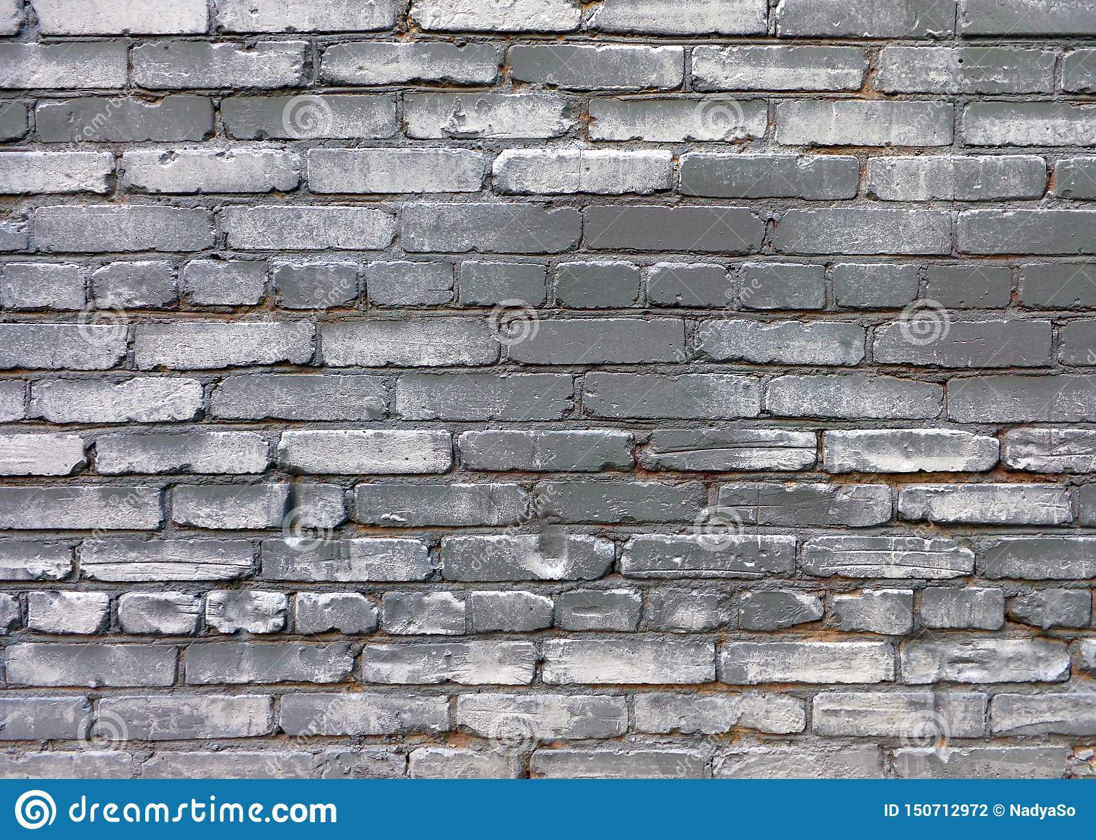 Uurban grunge background of old brick gray painted wall