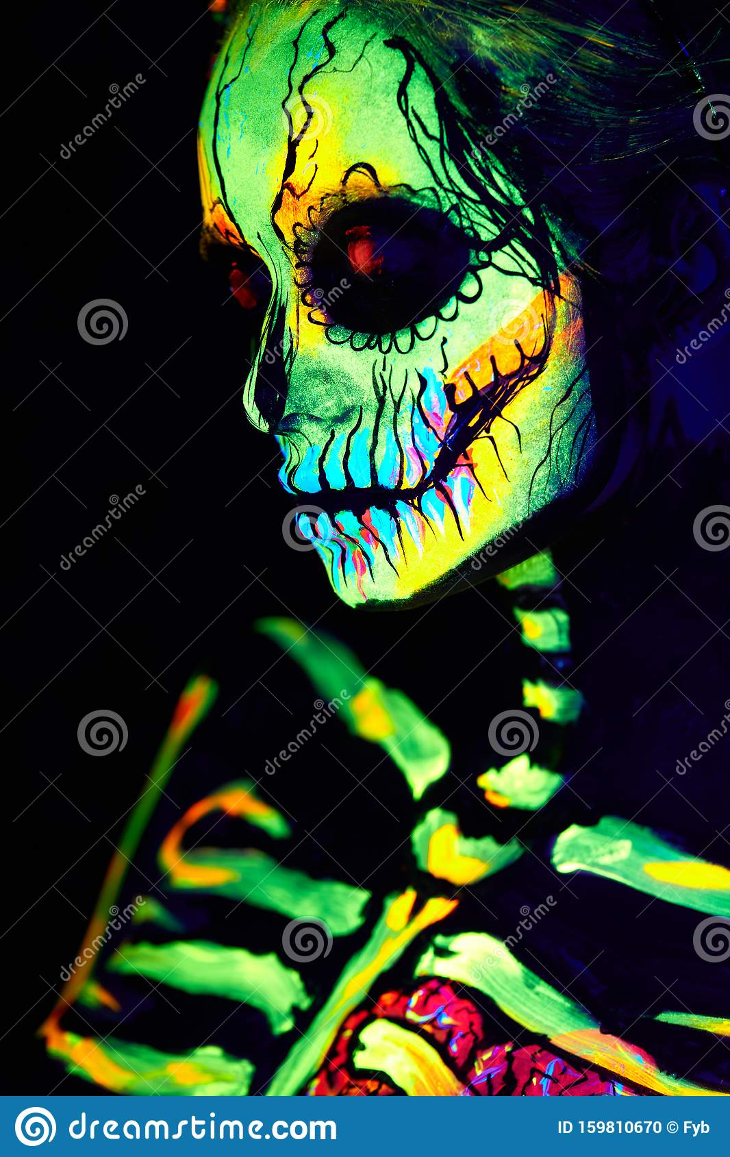 Uv Body Art Painting Of Helloween Female Skeleton Stock Photo Image Of Design Halloween 159810670