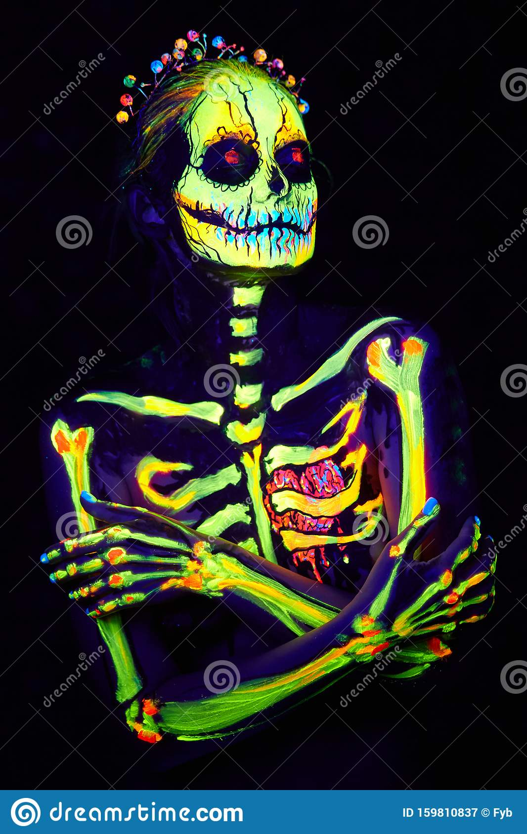 Uv Body Art Painting Of Helloween Female Skeleton Stock Image Image Of Disco Beauty 159810837