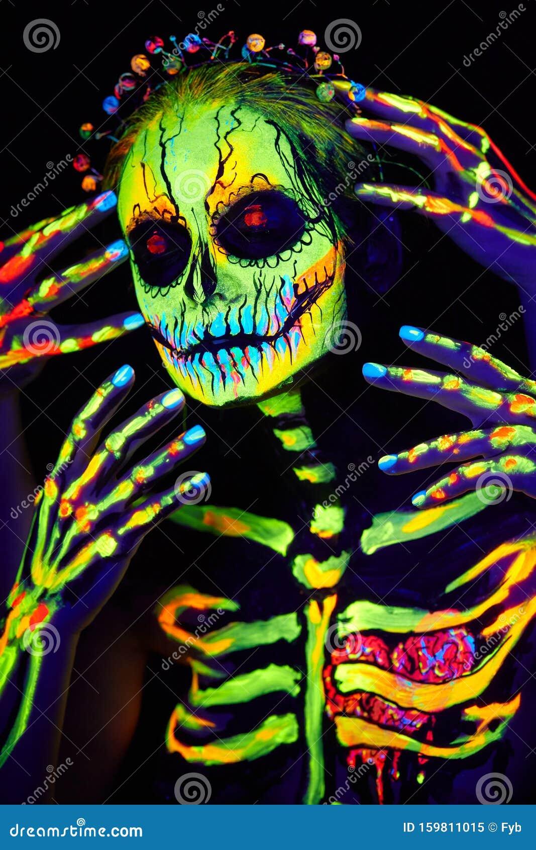 Uv Body Art Painting Of Helloween Female Skeleton Stock Image Image Of Celebration Culture 159811015