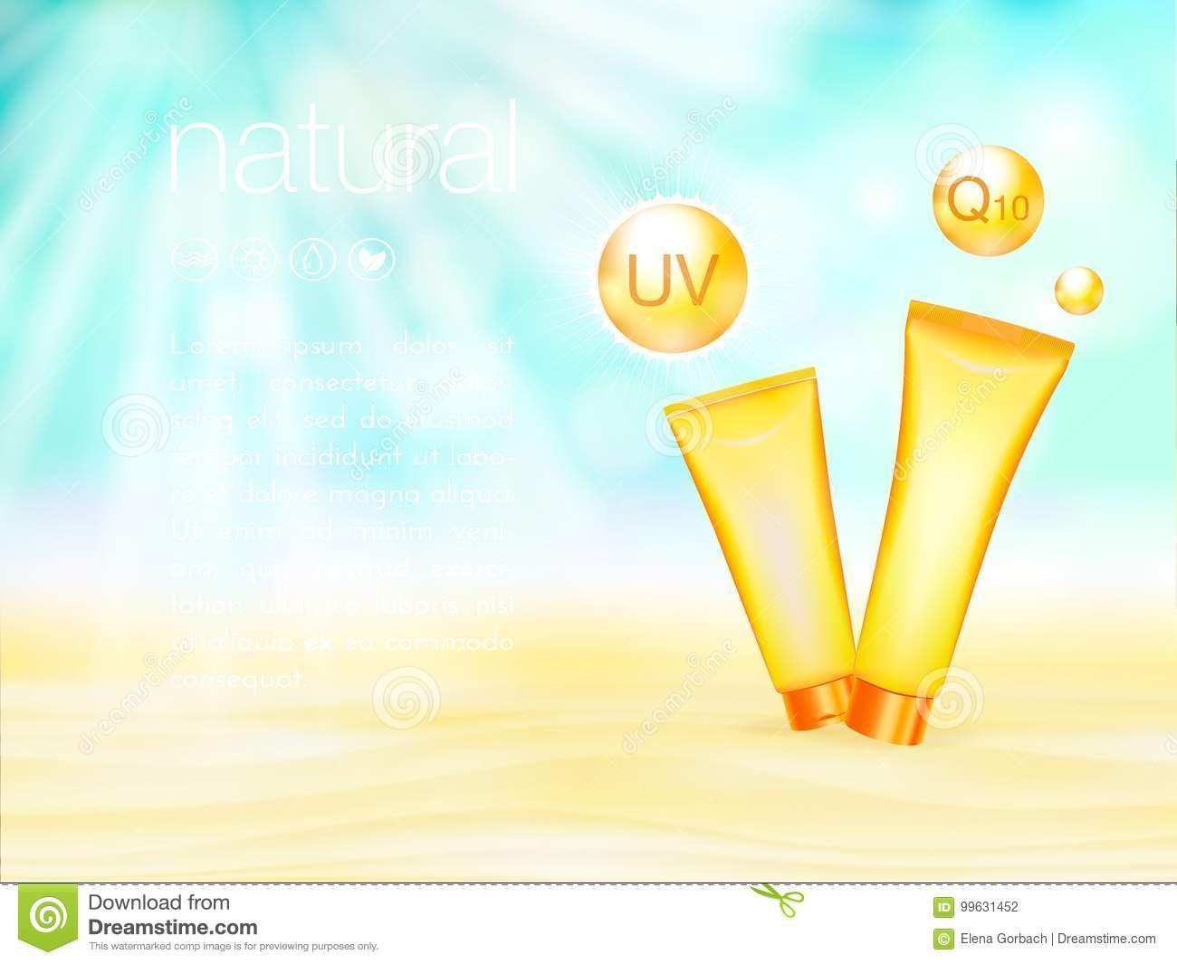UV protection. Sunblock ads template, sunscreen and sunbath cosmetic products design. 3d vector illustration. Sunny