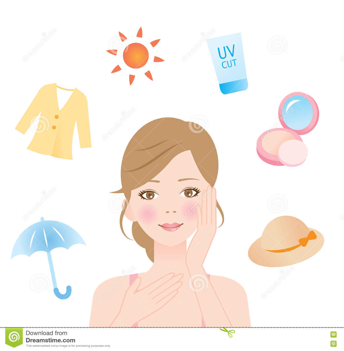 0d8b551c5e3 Woman protect her skin from ultraviolet rays with a hat, foundation,  sunscreen, sun protective clothing, and a parasol.