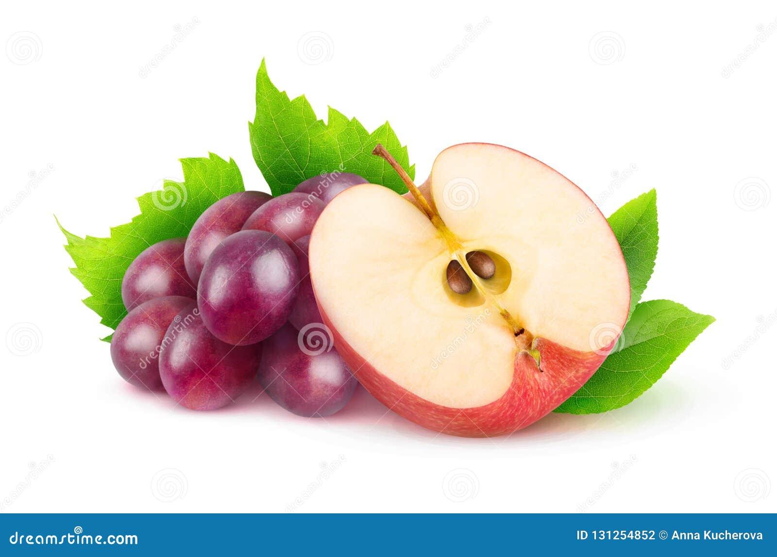 Uvas vermelhas e maçã isoladas