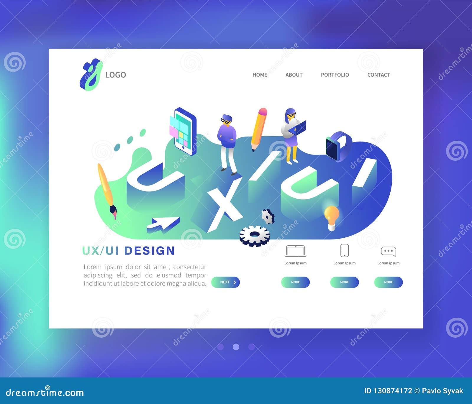 UX en UI-het Malplaatje van het Ontwerplandingspagina Mobiele toepassing en Websiteontwikkeling Isometrische Webpaginalay-out Gem