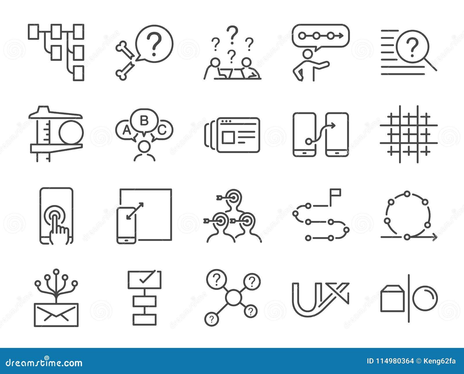 UX ikony set Zawrzeć ikony jako użytkownika doświadczenie, przepływ, pierwowzór, system, cel, rozwiązanie, procedura i więcej, ob