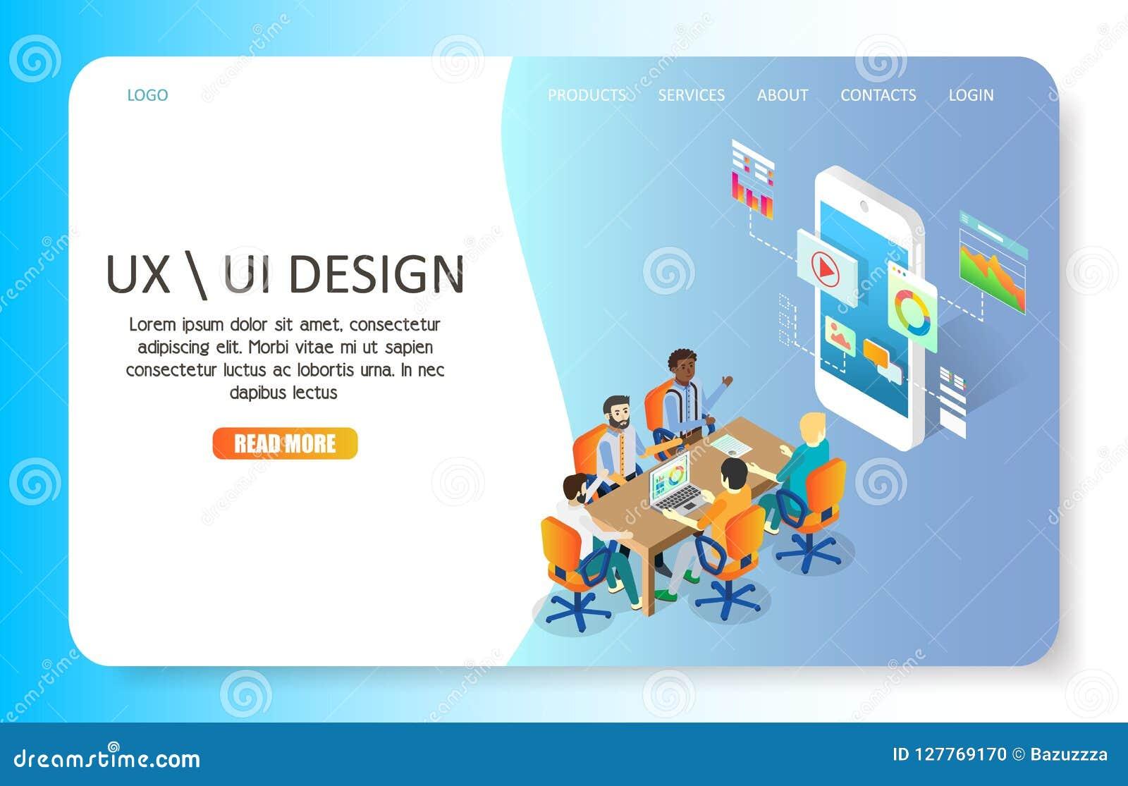 UX Or UI Design Landing Page Website Vector Template Stock Vector