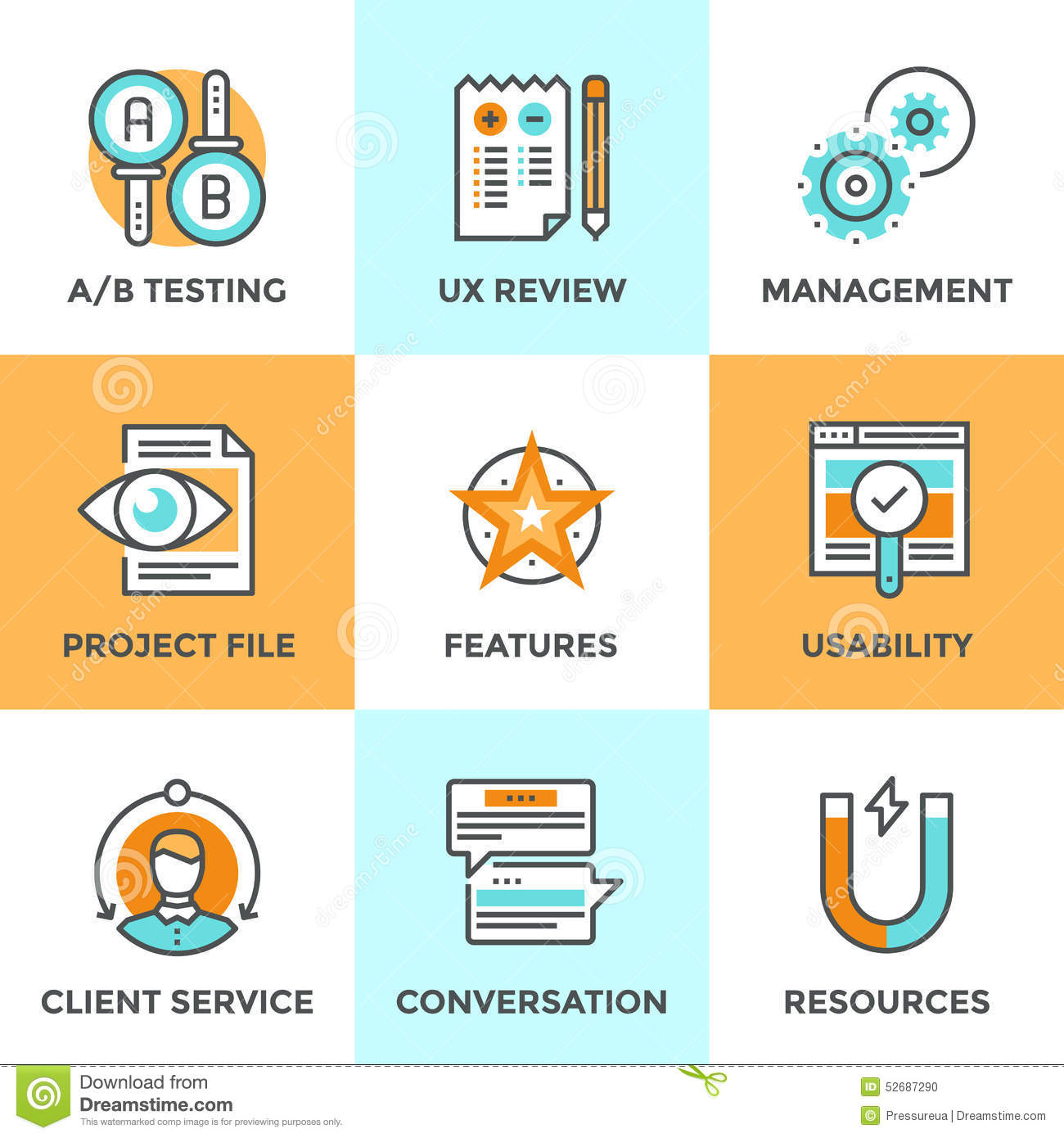 Ux And Usability Testing Line Icons Set Stock Vector