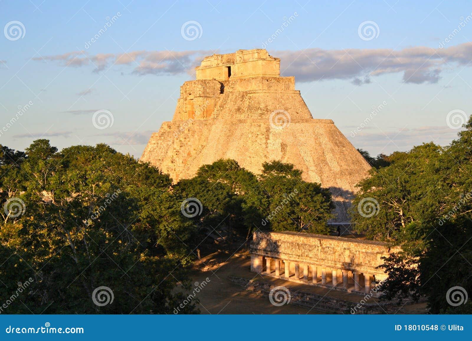 uxmal mayan pyramid  yucatan  mexico royalty free stock photos
