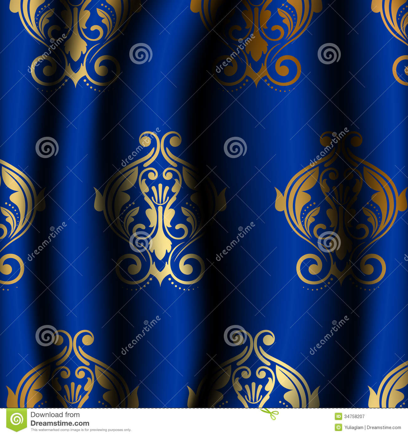 Uxury Blue Material With Gold Pattern Royalty Free Stock