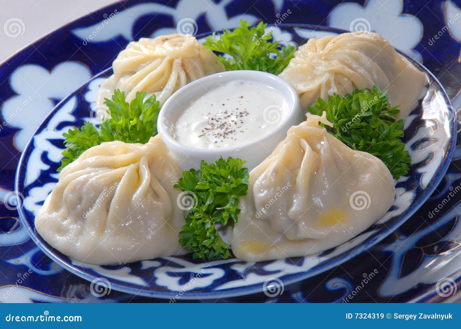 Uzbeco manty con carne