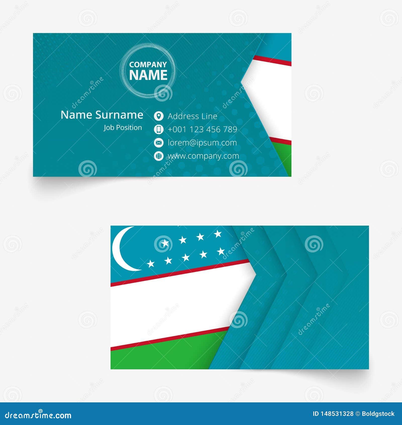 Uzbekistan Flag Business Card, Standard Size 90x50 Mm ...