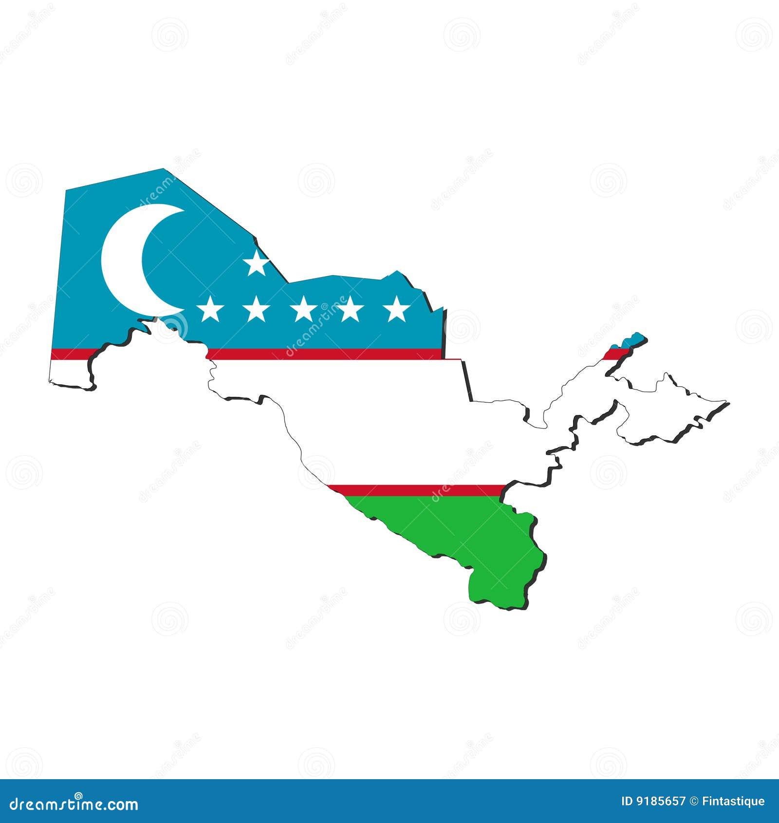 Uzbekistan Map Flag Royalty Free Stock Photography - Image: 9185657