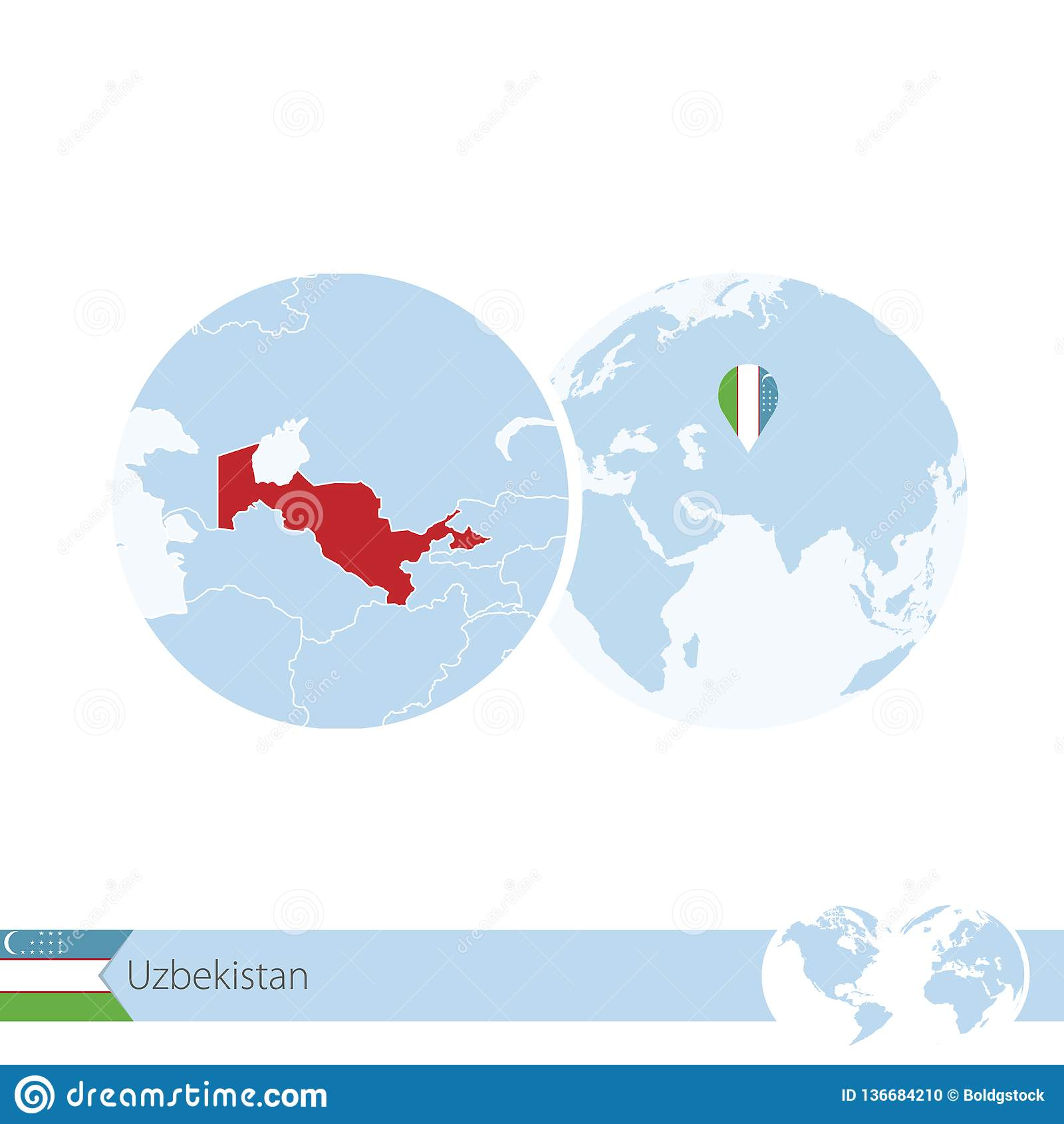 Uzbekistan On World Globe With Flag And Regional Map Of Uzbekistan Stock Vector Illustration Of Asian Icon 136684210