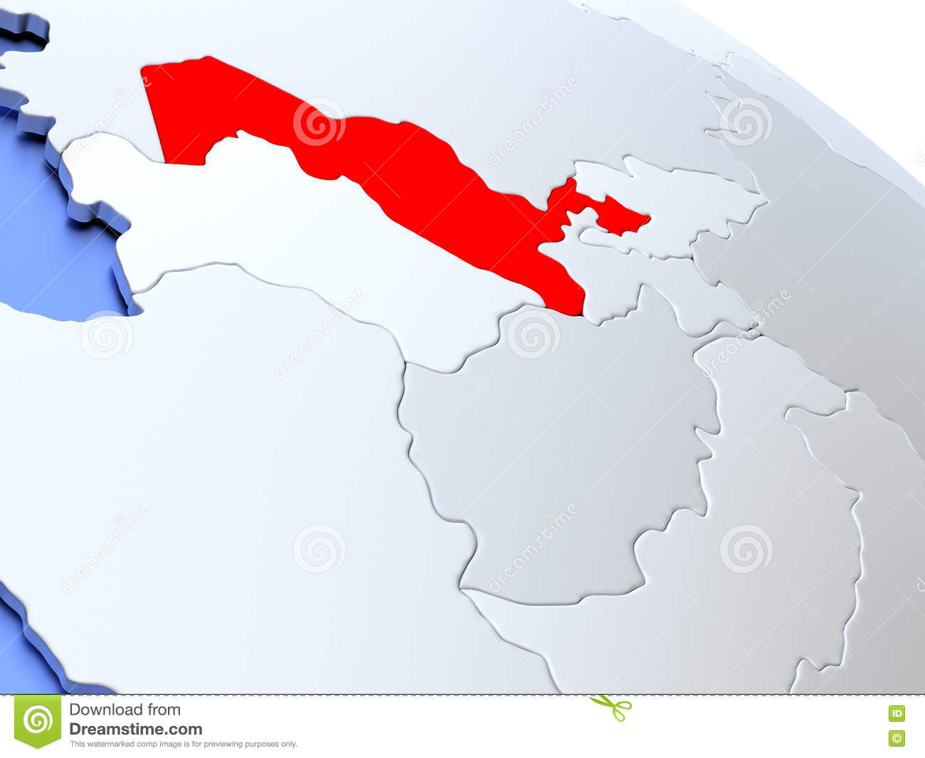 Uzbekistan On World Map Stock Illustration Illustration Of Uzbekistani 78584104