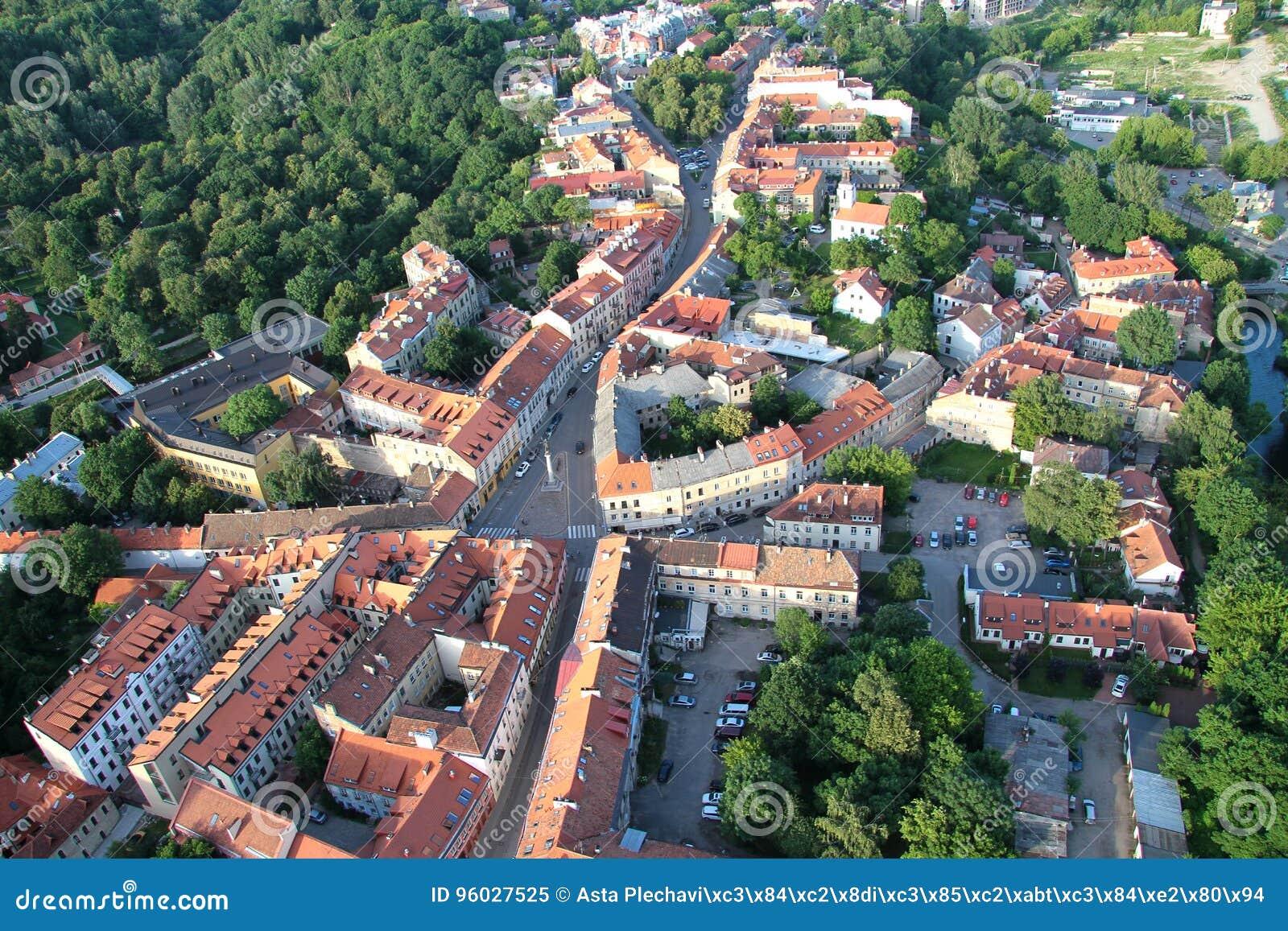 Uzupis okręg w Vilnius od above