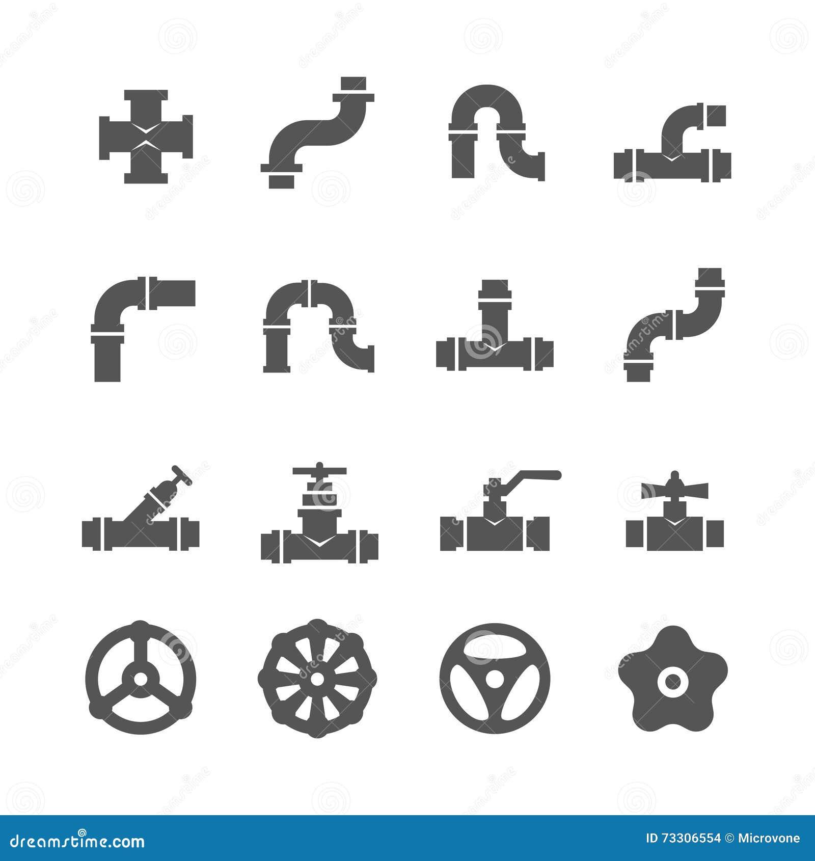 Válvula, golpecitos, conectores del tubo, iconos del vector de los detalles fijados