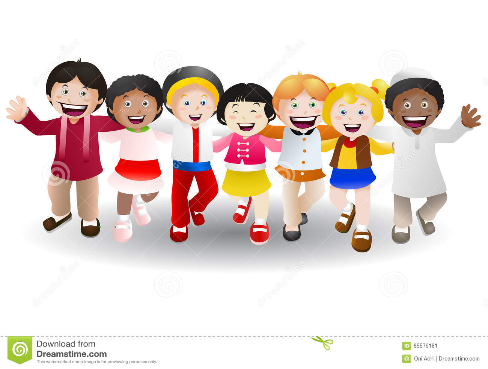 Várias crianças da cultura