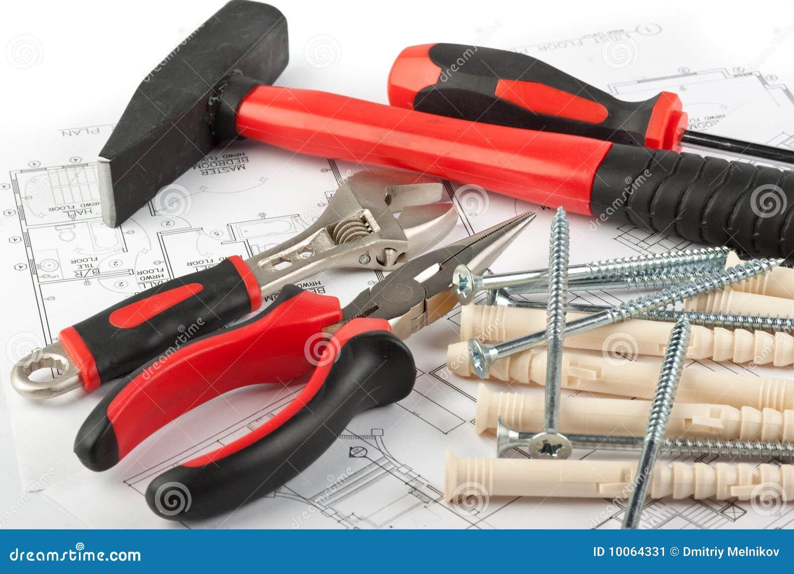 Várias ferramentas da construção