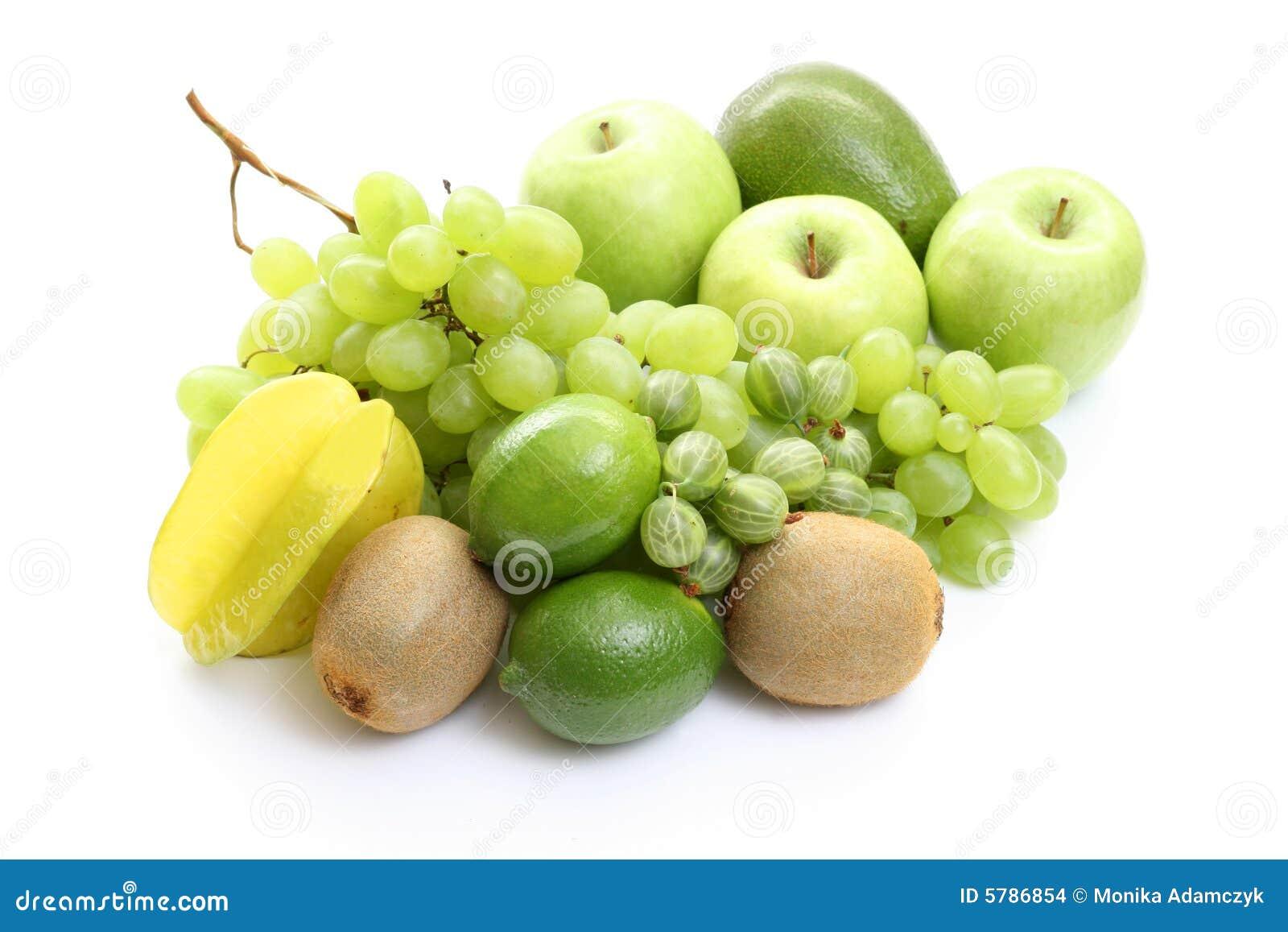 Várias frutas verdes