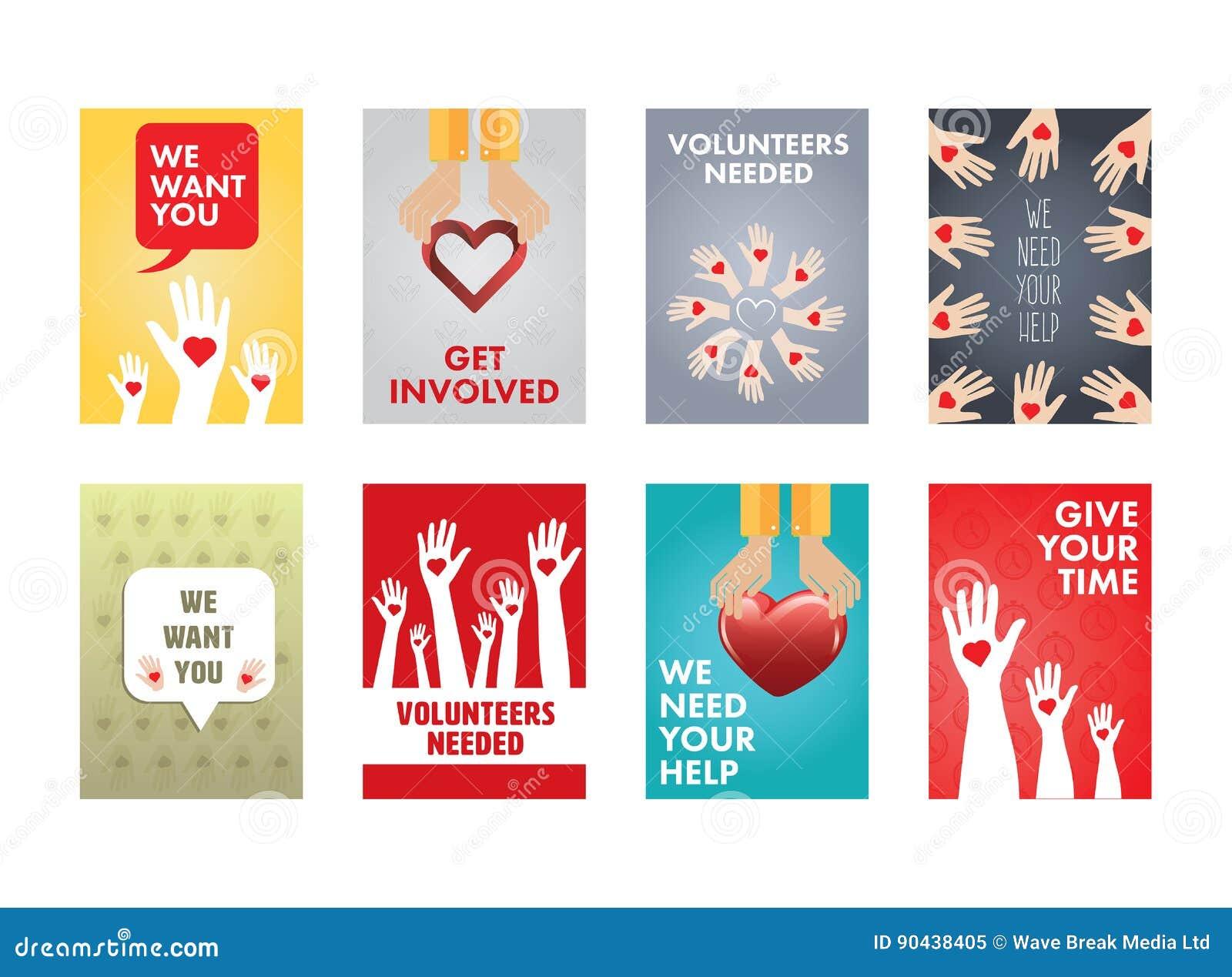 Vário grupo do ícone do vetor de voluntários