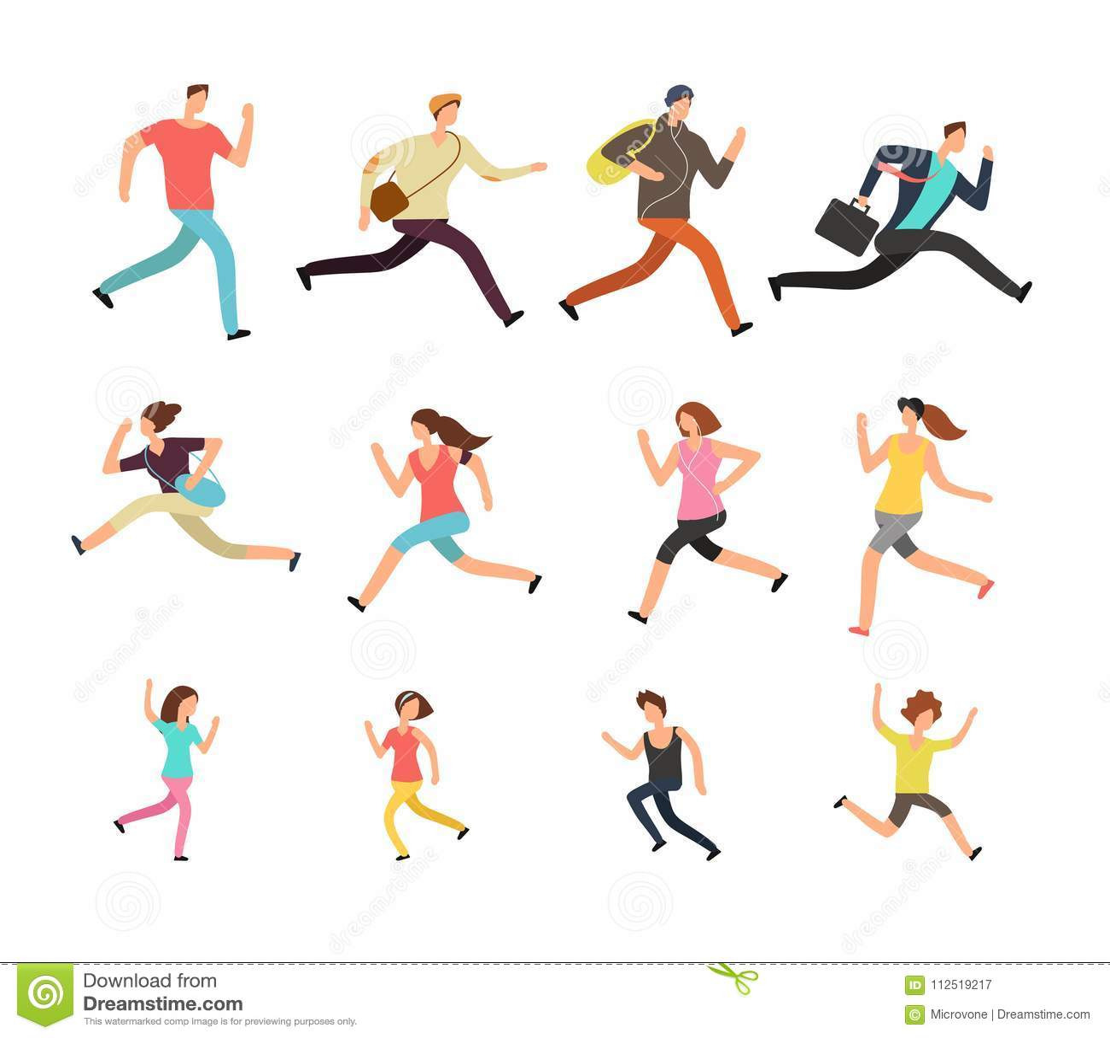 Vários povos running Apressando o grupo ativo do vetor do homem, da fêmea e das crianças