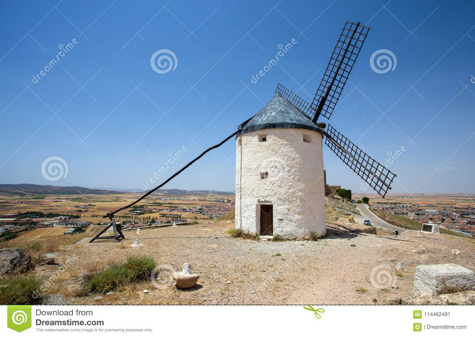 Väderkvarn i Campo de Criptana La Mancha, Consuegra, Don Quixote rutt, Spanien