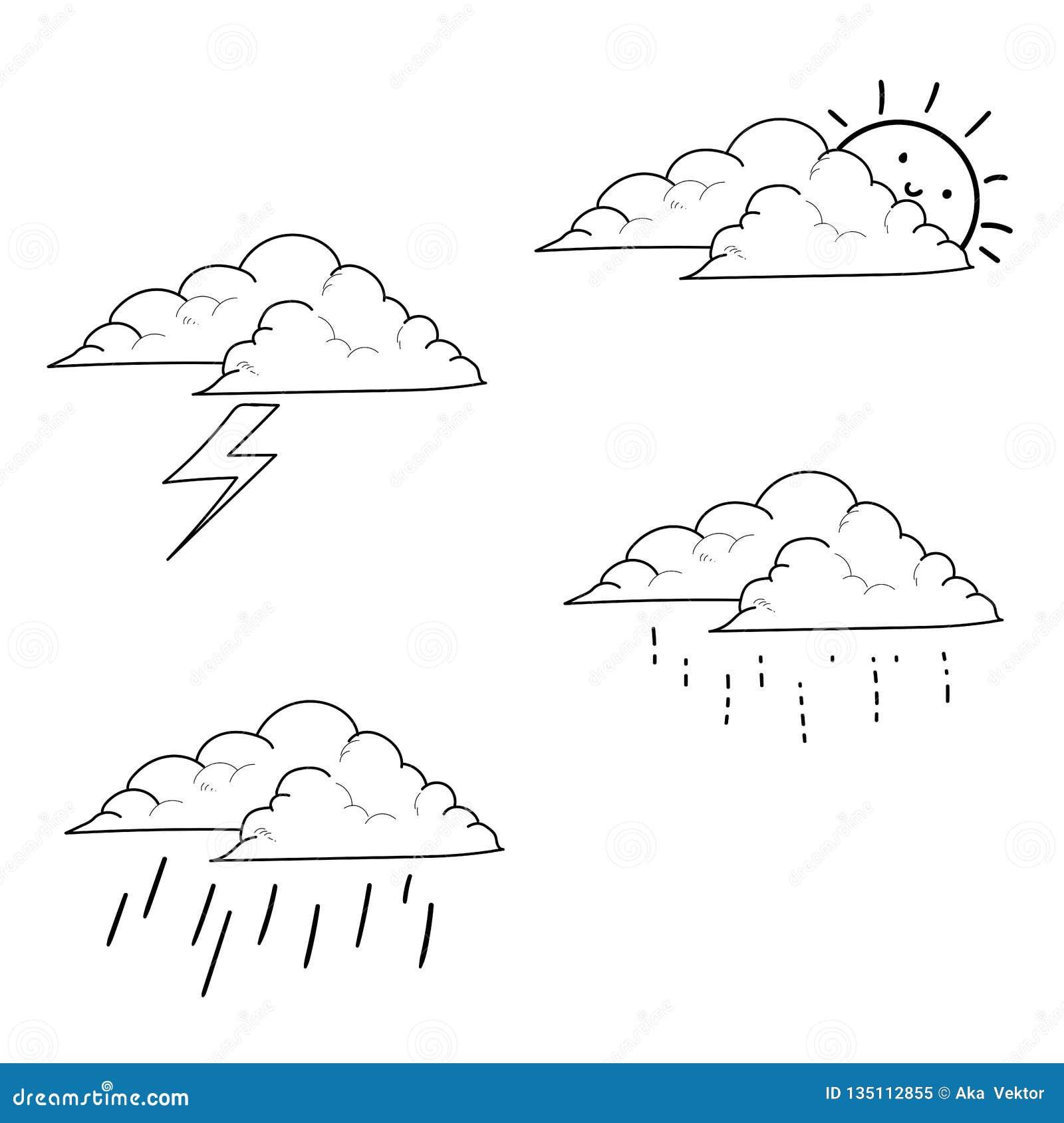 Vädersymboler ställde in handen dragen