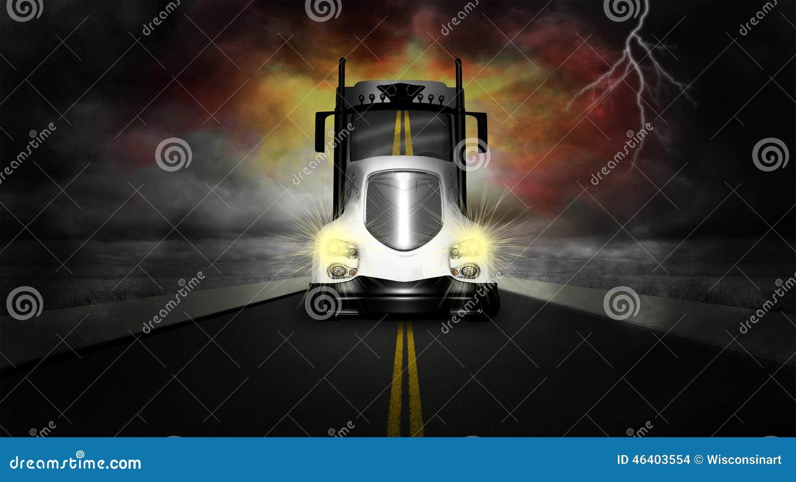 Väg för lastbil för traktorsläp halv